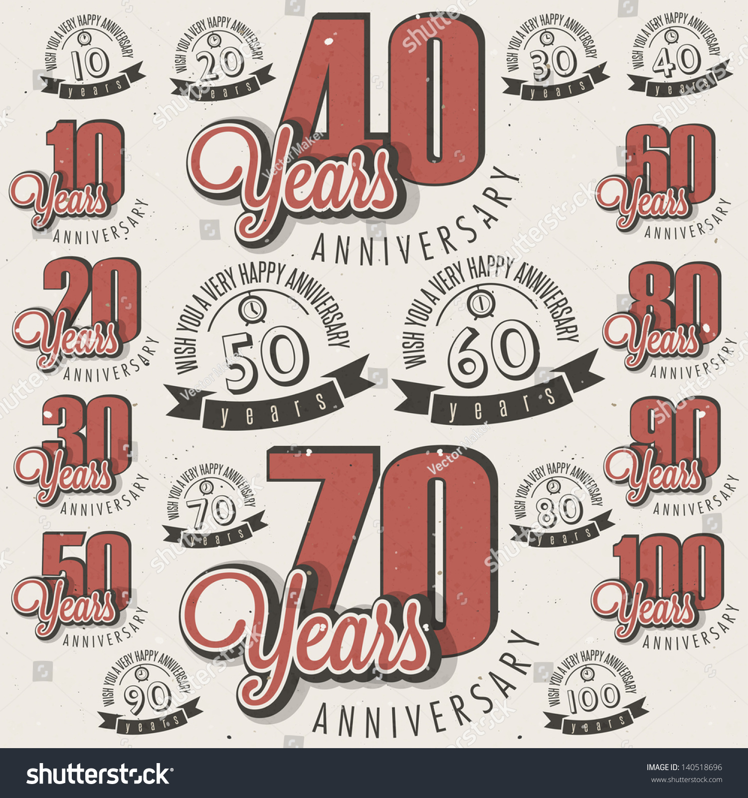 Retro Vintage Style Anniversary Greeting Card Stock Vector Royalty