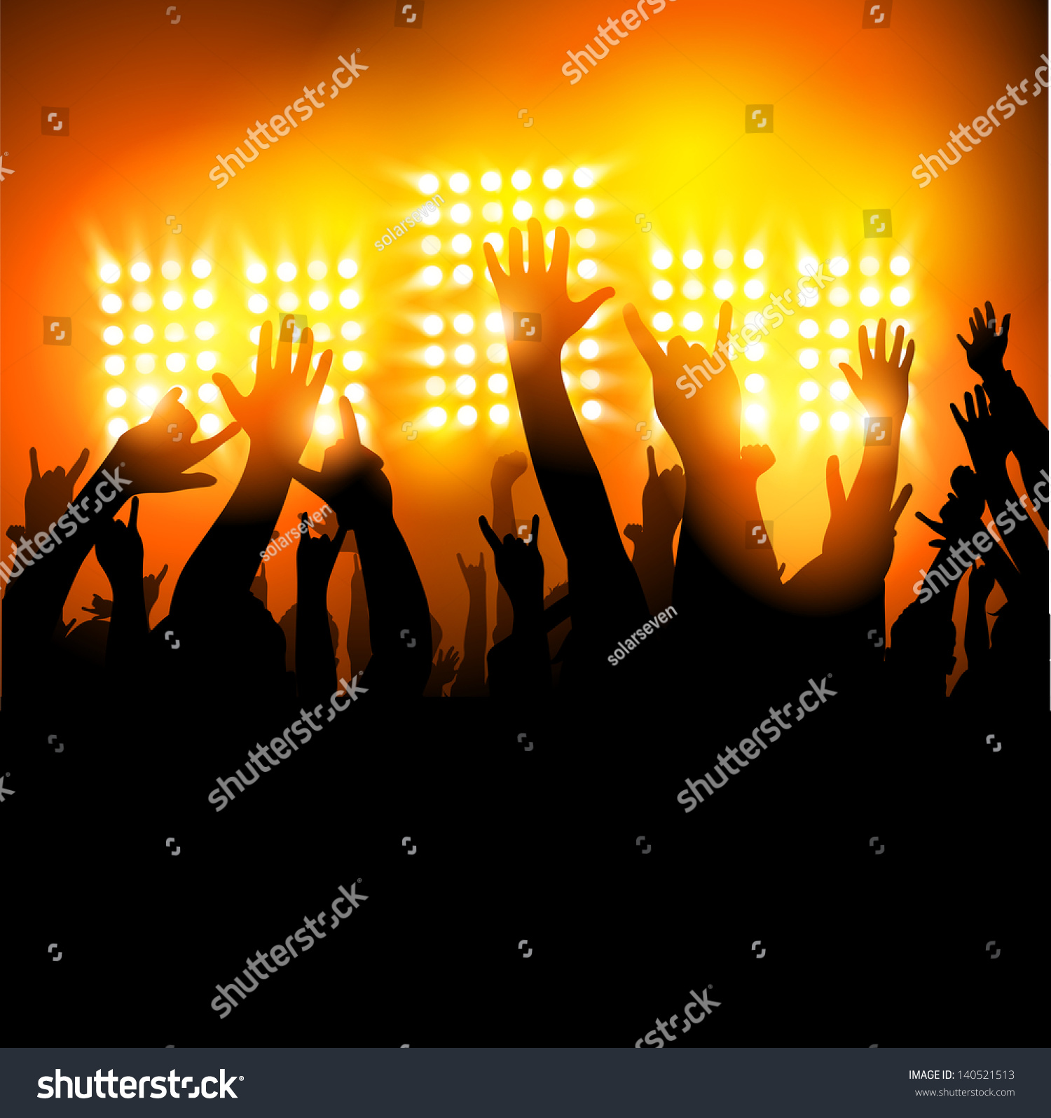Hands In The Air - Fans At A Concert. Vector Illustration ... Hands In The Air Rock Concert