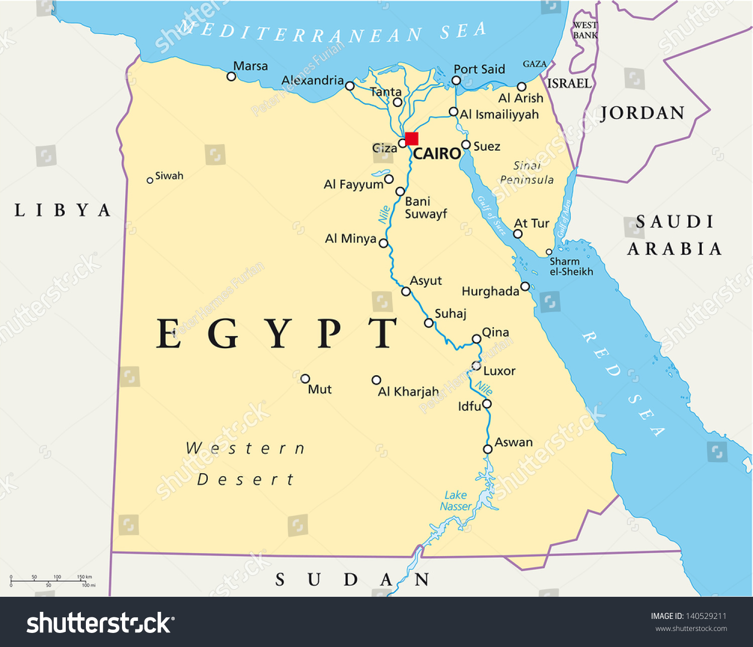 Map Egypt Stock Vector Royalty Free 140529211