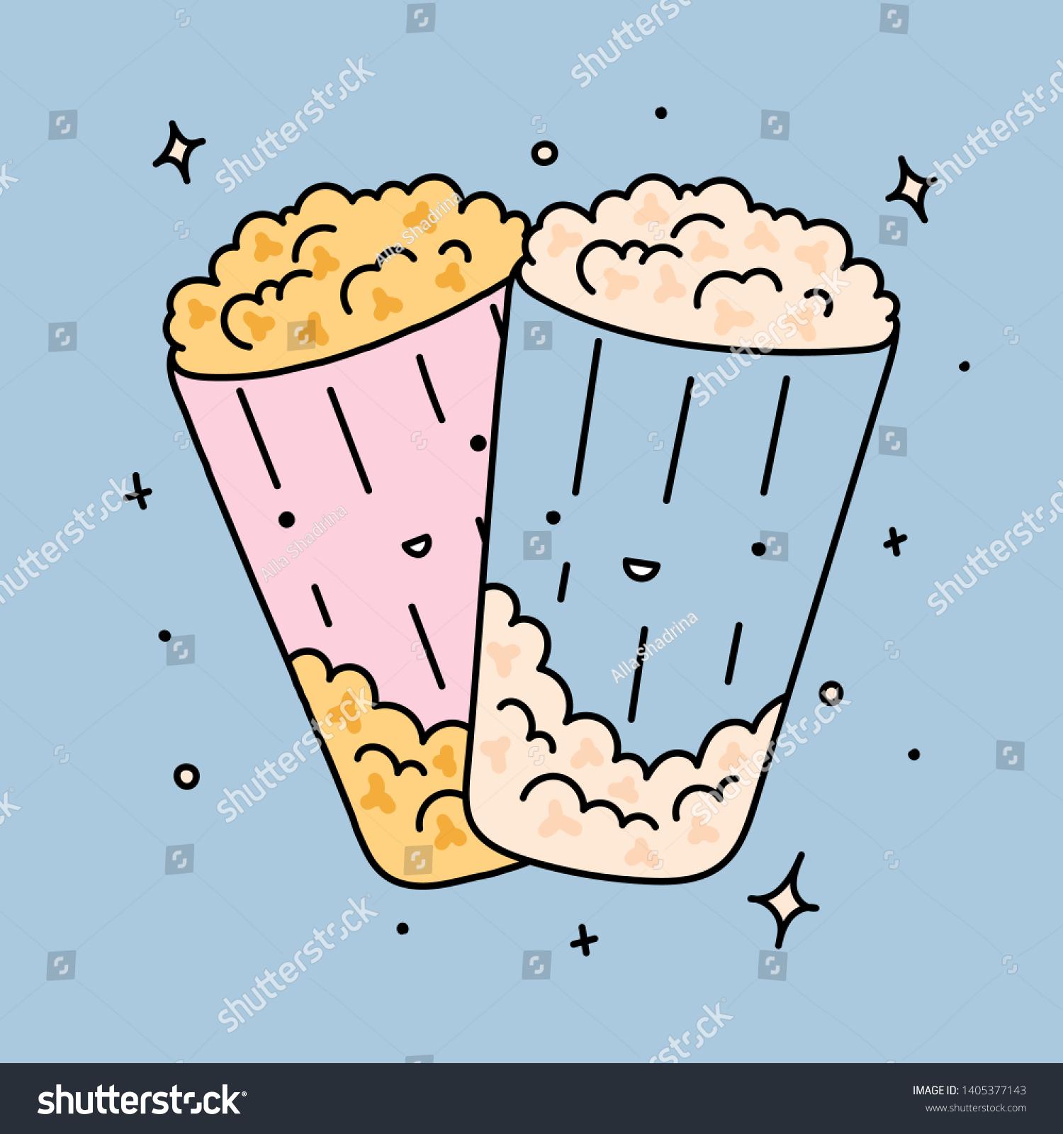 Blue Hand Drawn Cute Pop Corn Stock Vector Royalty Free 1405377143