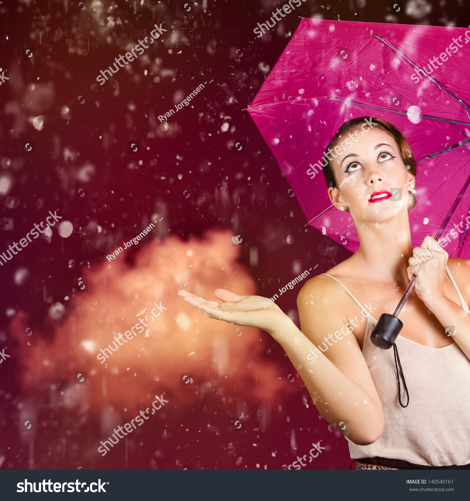 of falling rain during the humidity of summer. Retro fashion storm #AE1D66