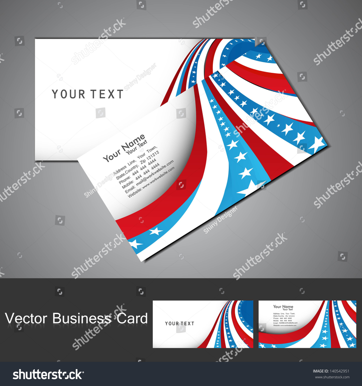 American Flag 4th July Business Card Stock Vector 140542951 ...