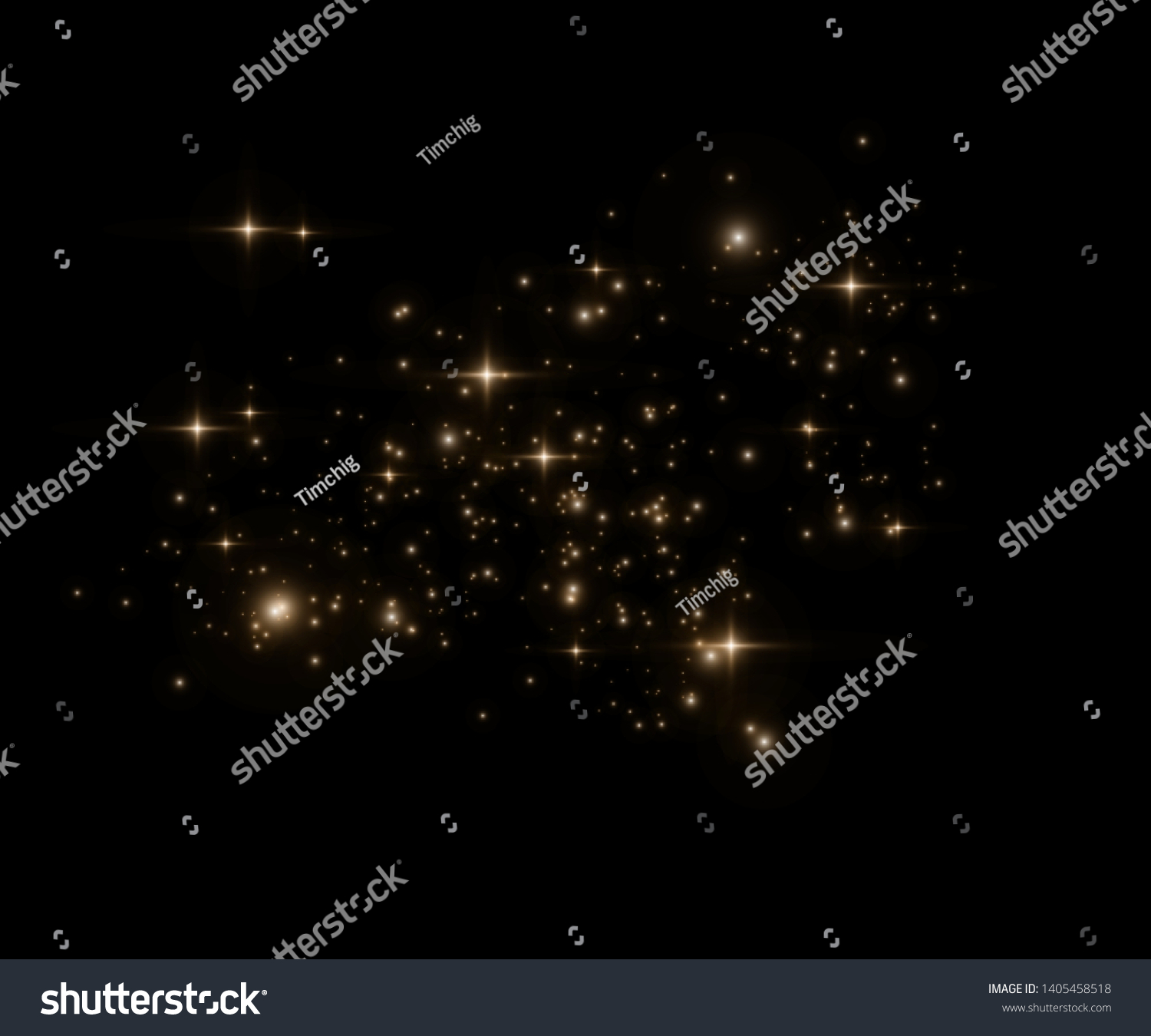 Yellow sparks glitter special light effect. Vector sparkles on transparent background. Christmas abstract pattern. Sparkling magic dust particles -  #1405458518