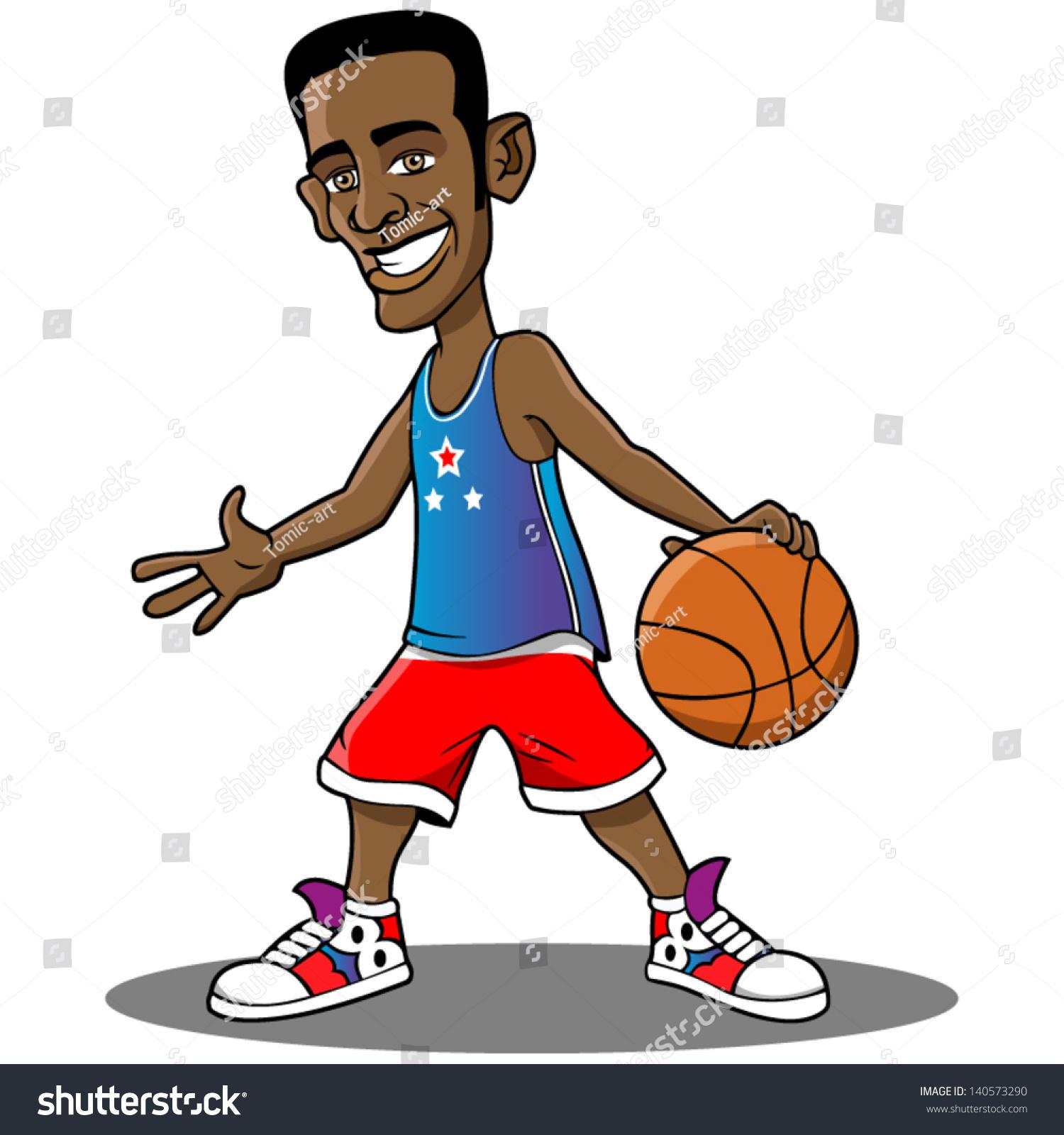 Cartoon basketball player standing