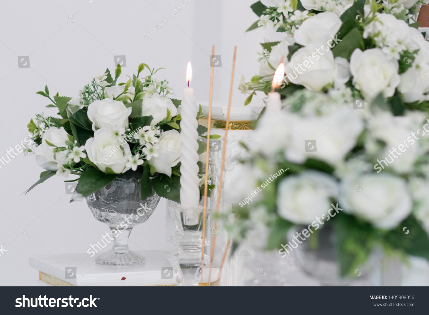Mercy Altar Table Incense Flaming Candles Stock Photo Edit Now 1405908056