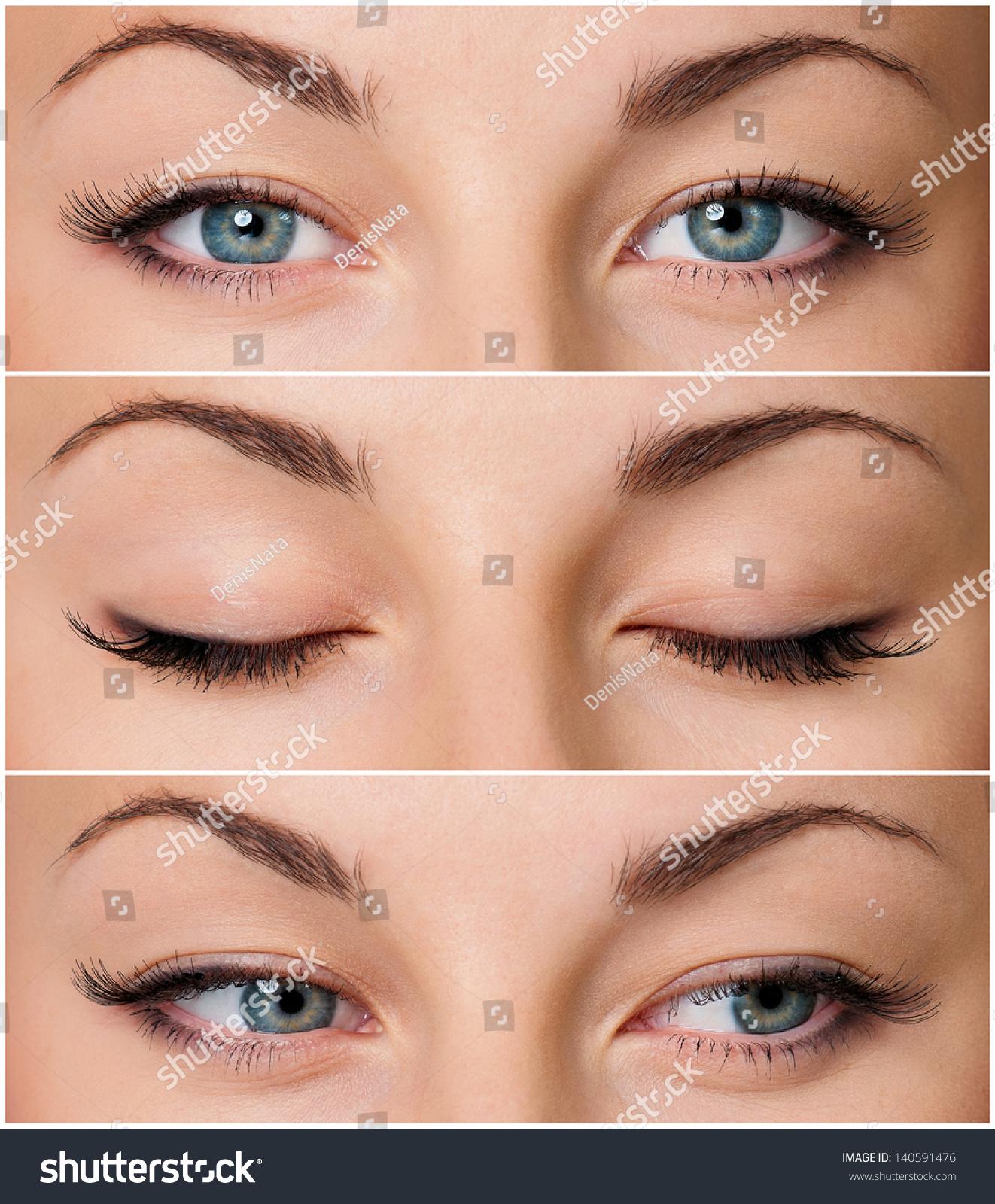 Close Up Of Beautiful Woman Grey Eyes Stock Photo