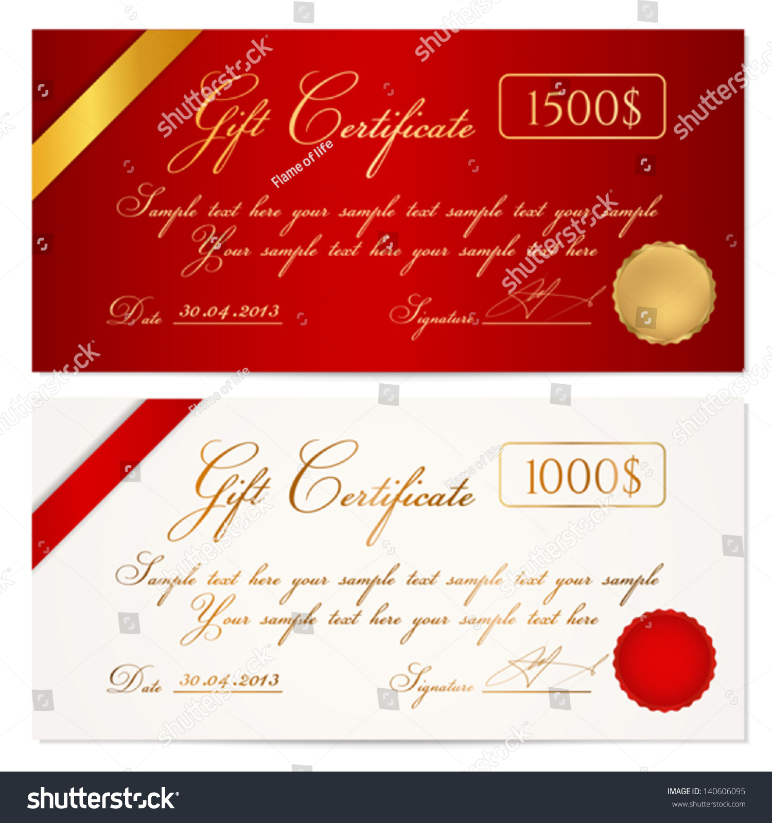 Voucher gift certificate coupon template ribbon stock vector voucher gift certificate coupon template with ribbon seal wax background design for yadclub Images