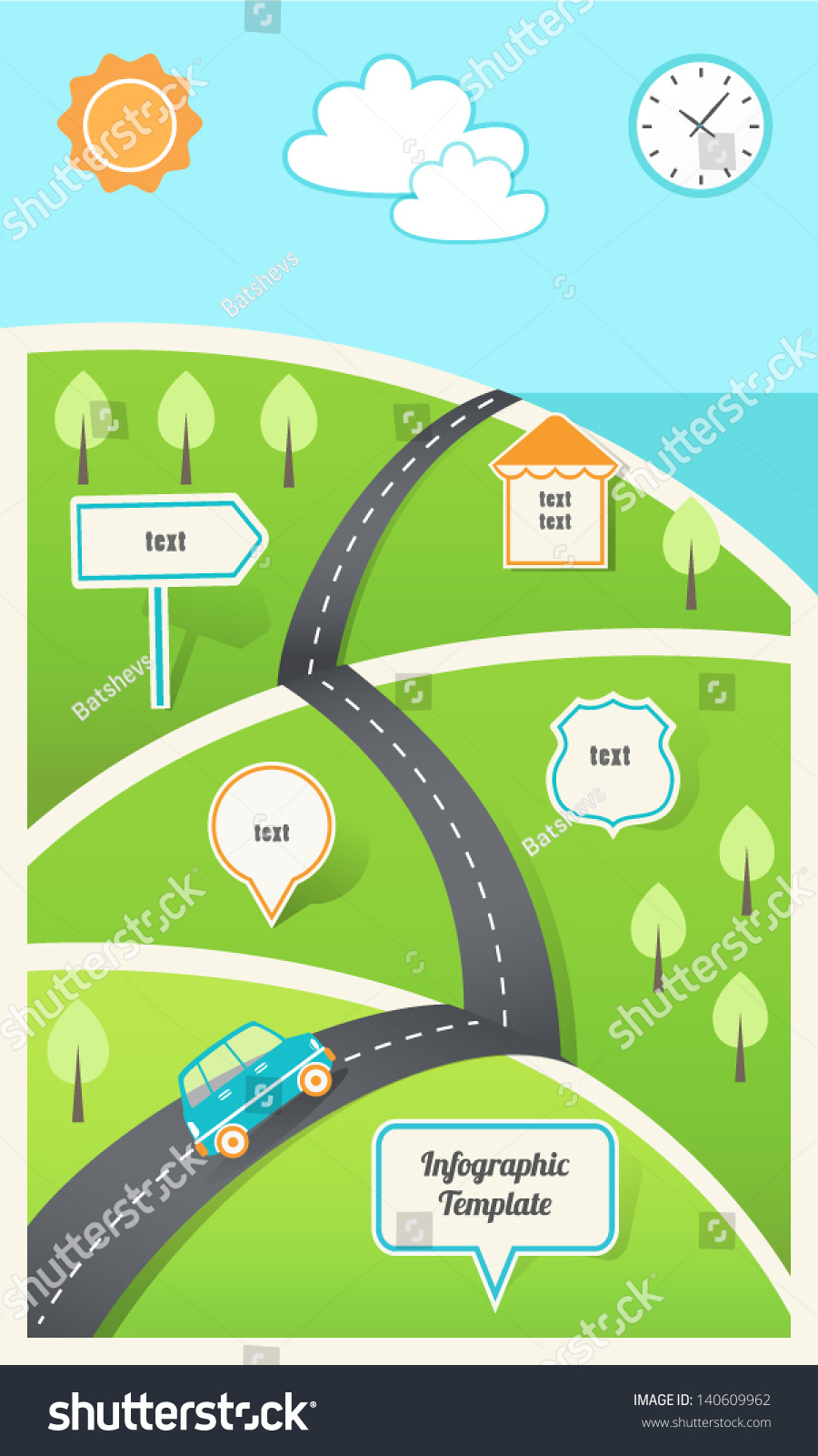 Stock Vector Travel Holiday Road Map Infographic Template Eps