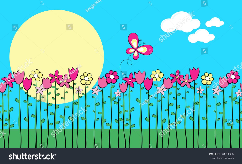 Illustration Tall Spring Flowers Butterfly Vector Stock Vector
