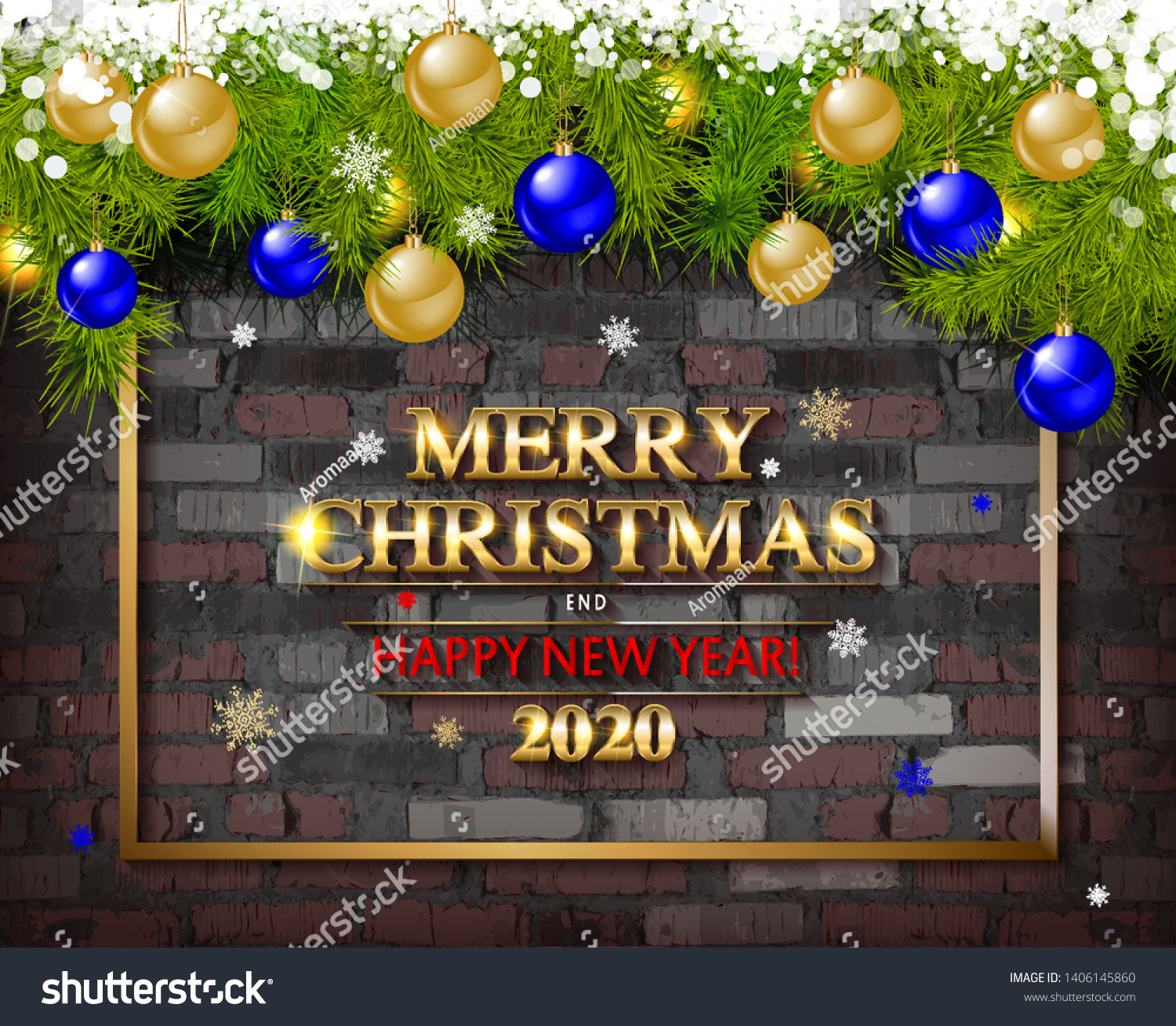 Christmas Tree Garland On Background Old Stock Vector Royalty Free 1406145860