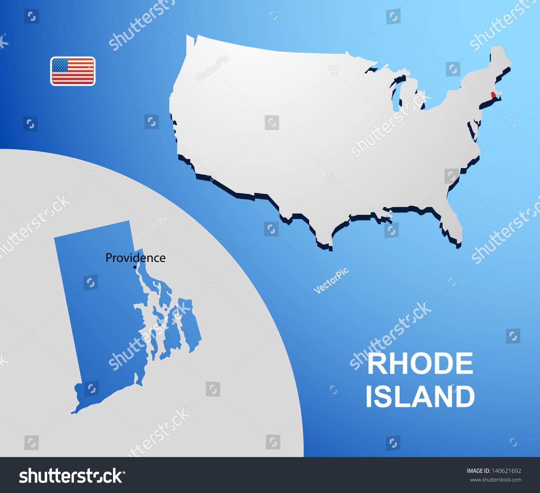 Rhode Island On Usa Map Map Stock Vector Shutterstock - Rhode island on us map