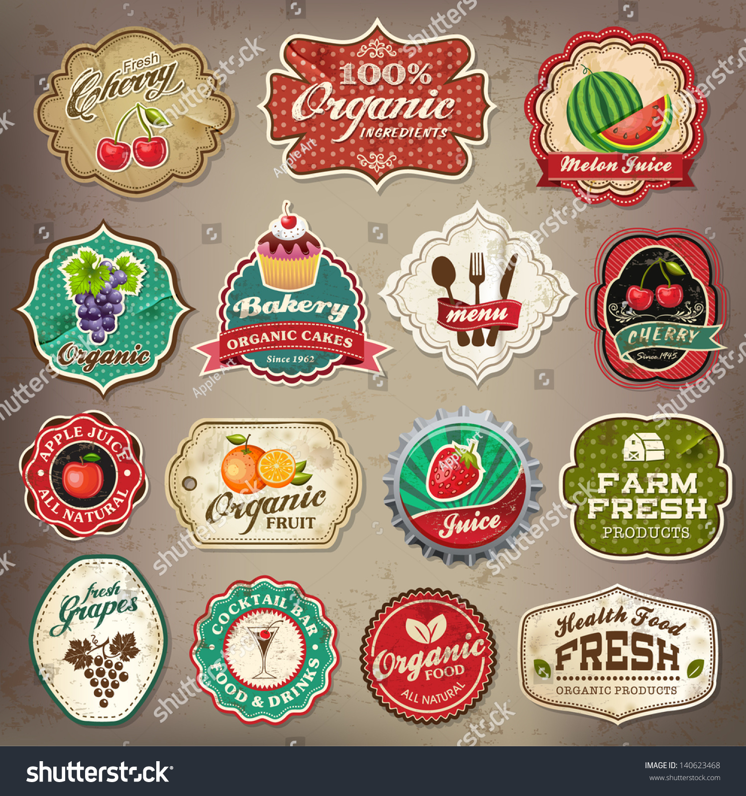 Vintage Retro Grunge Restaurant Organic Food Stock Vector ...