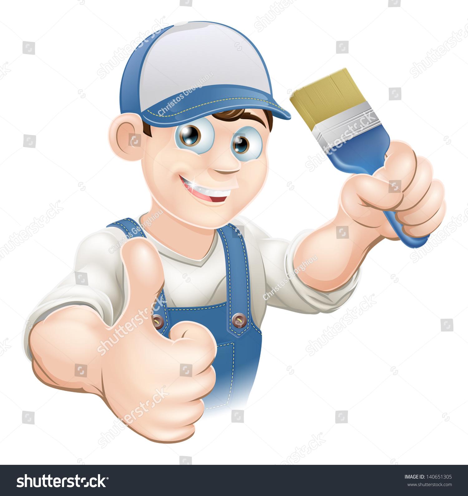 Painter Decorator Sign Stock Vector: Illustration Cartoon Painter Decorator Holding Paintbrush