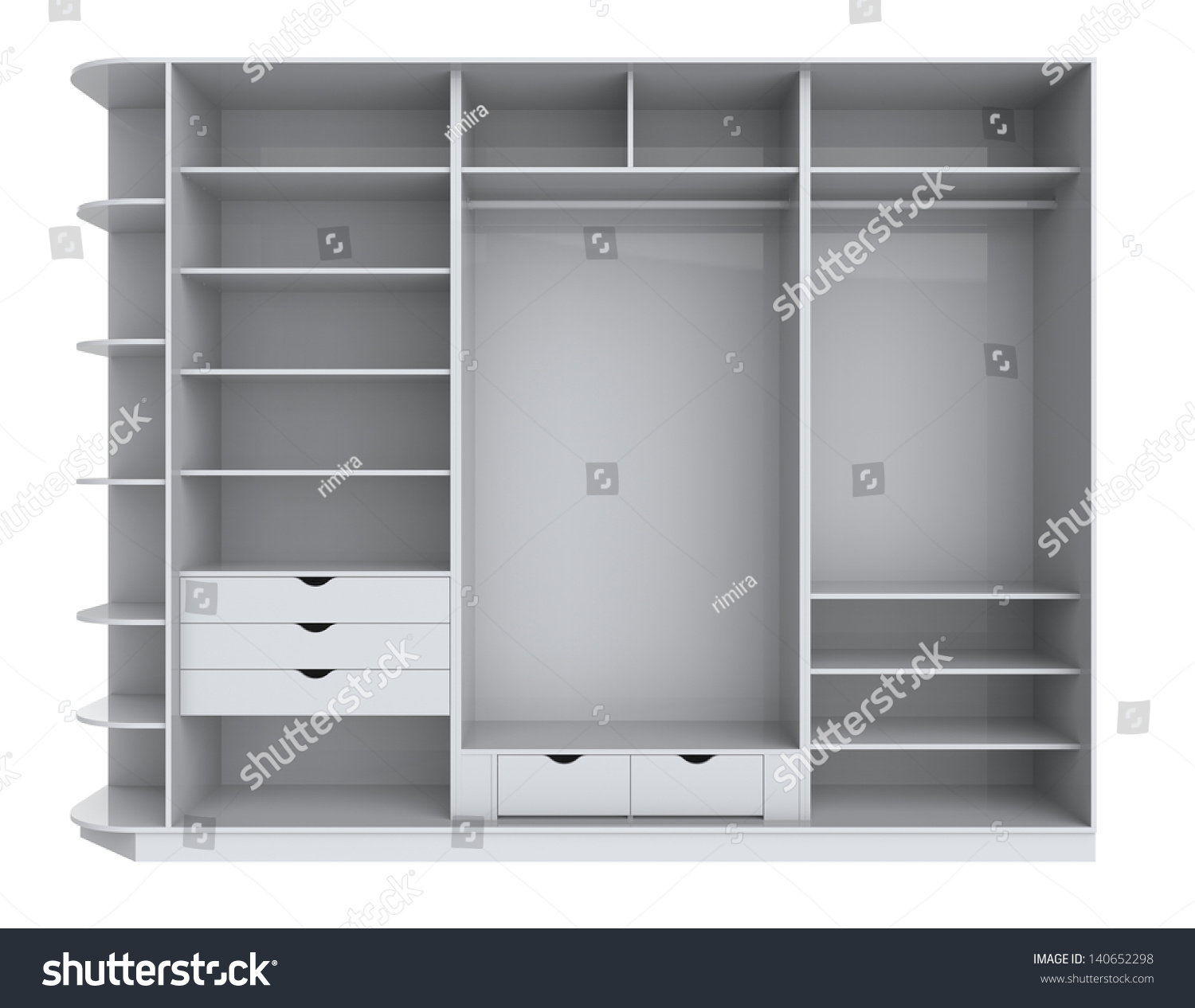 Empty Cupboard Cartoon: Wardrobe With Empty Shelves On A White Background Stock