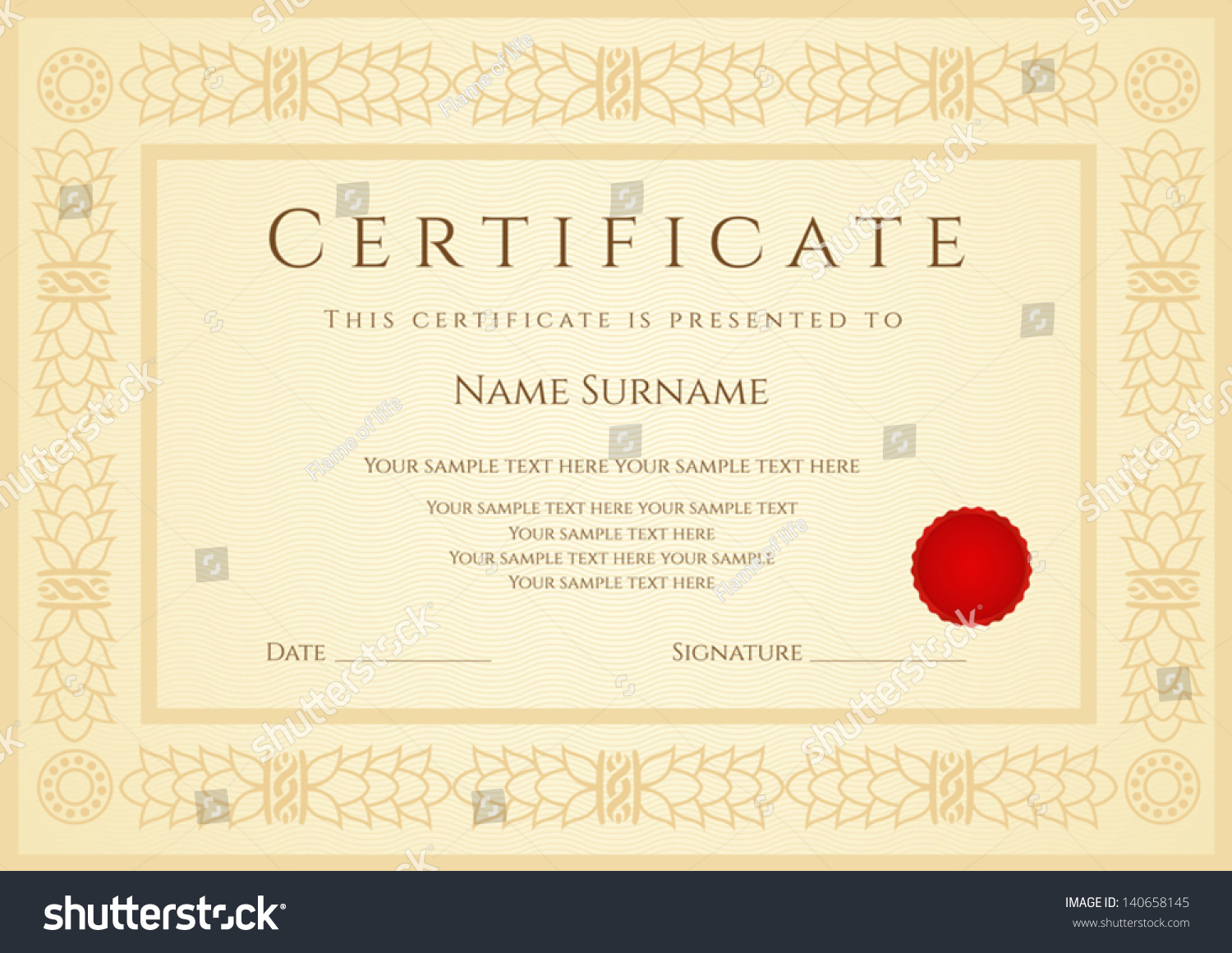 Certificate Diploma Completion Design Template Sample Vector – Certificate of Completion Sample