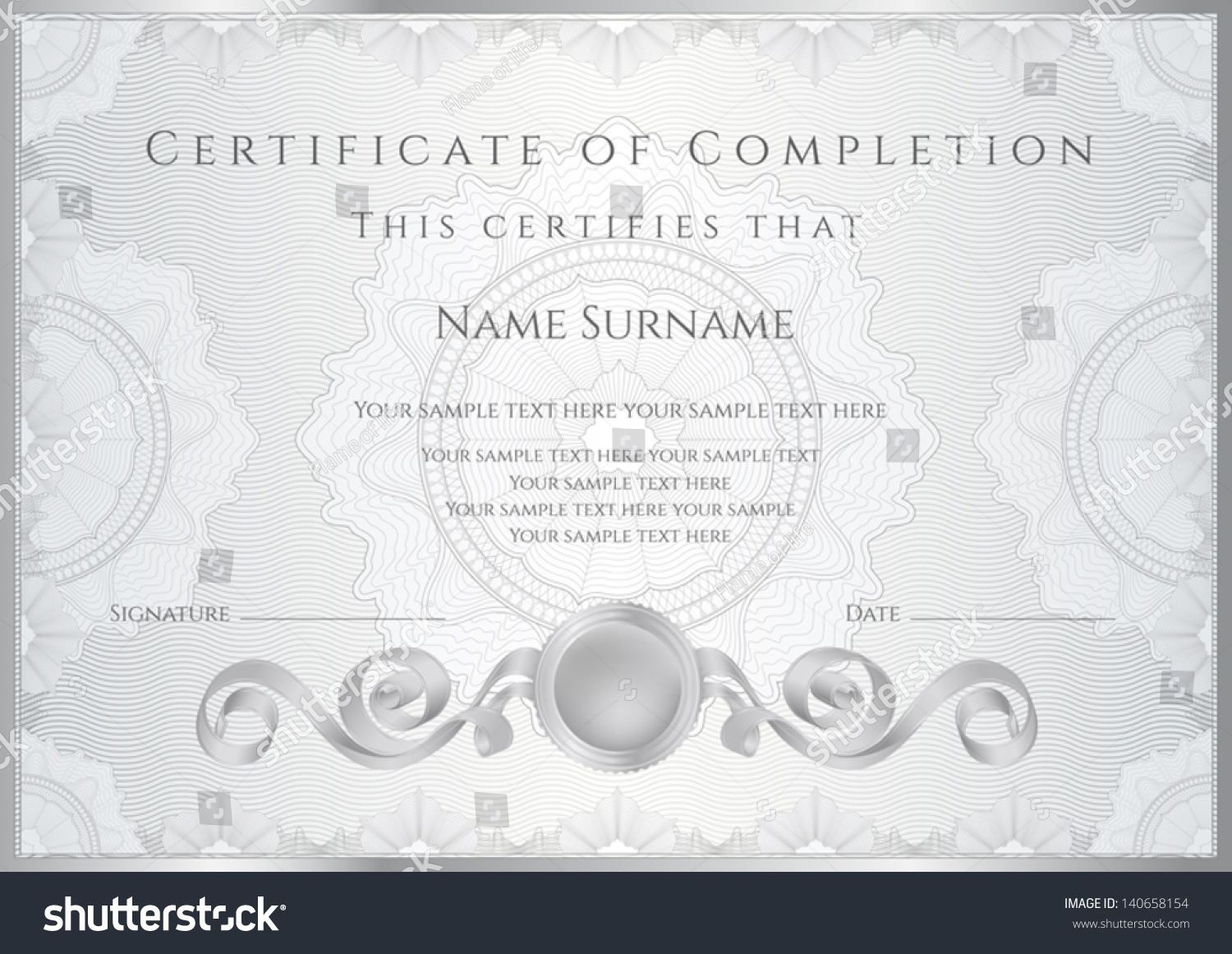 Silver Certificate Diploma Completion Design Template Vector – Samples of Certificate of Completion