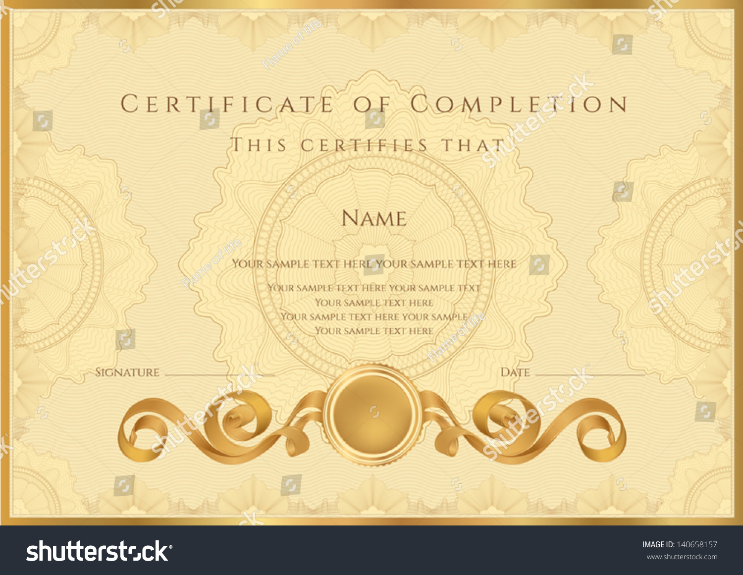 Royalty free gold certificate diploma of 140658157 stock photo gold certificate diploma of completion design template sample background with guilloche pattern yadclub Gallery