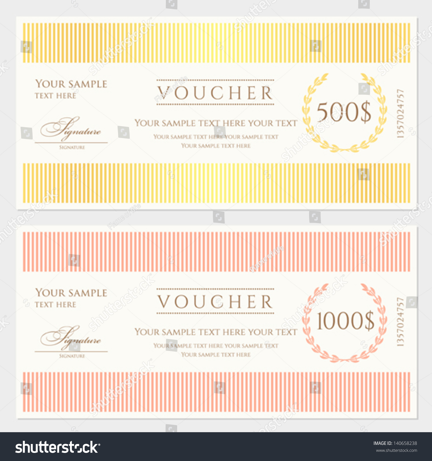voucher gift certificate template colorful stripy pattern voucher gift certificate template colorful stripy pattern and border background usable for coupon banknote money design currency note ticket