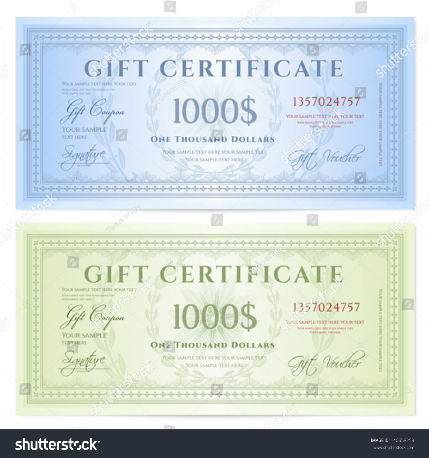 Gift certificate voucher template guilloche pattern stock vector gift certificate voucher template with guilloche pattern watermarks and border background yadclub Image collections