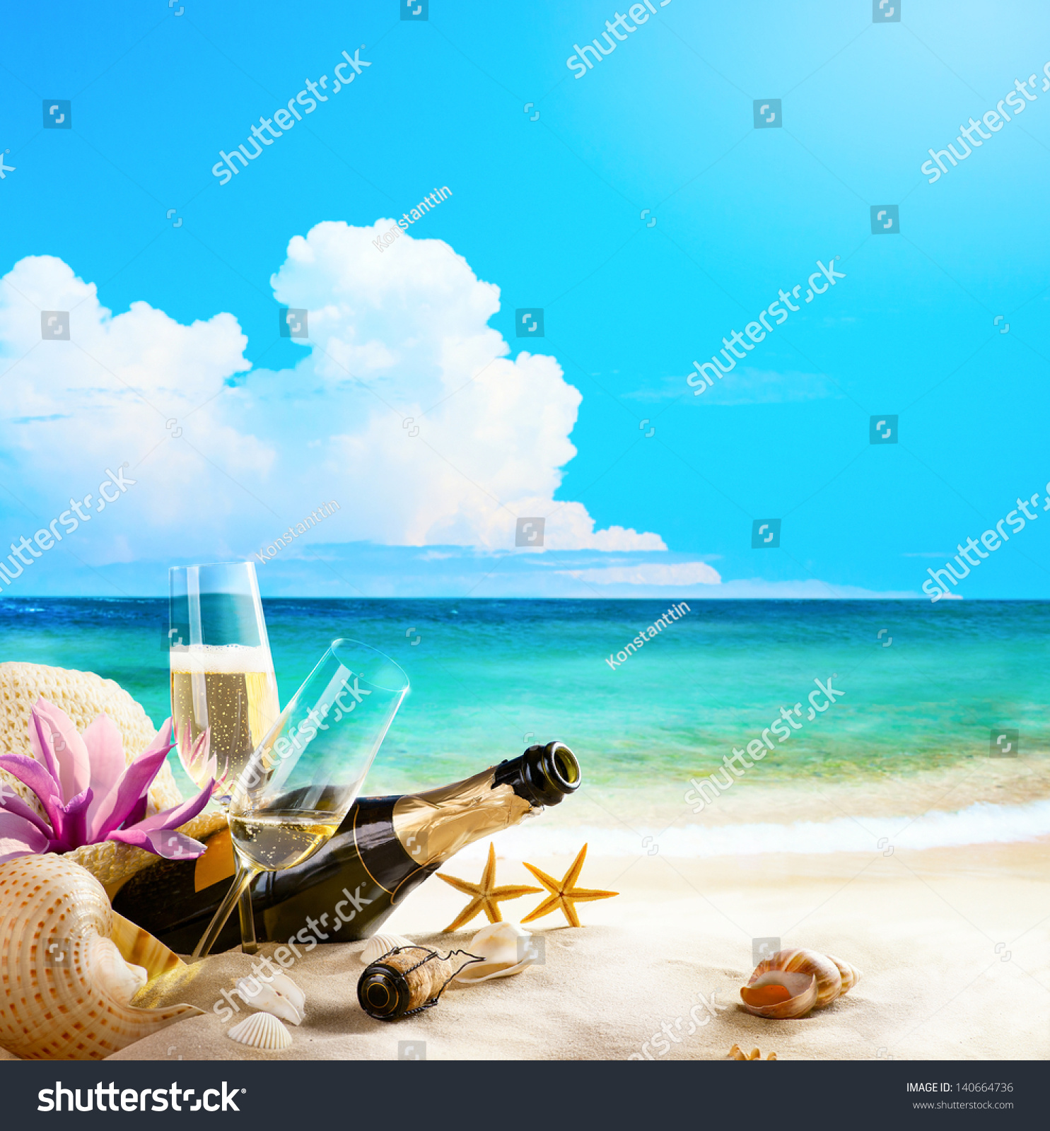 Beach Champagne: Romantic Sea Beach Wine Glasses Champagne Stock Photo