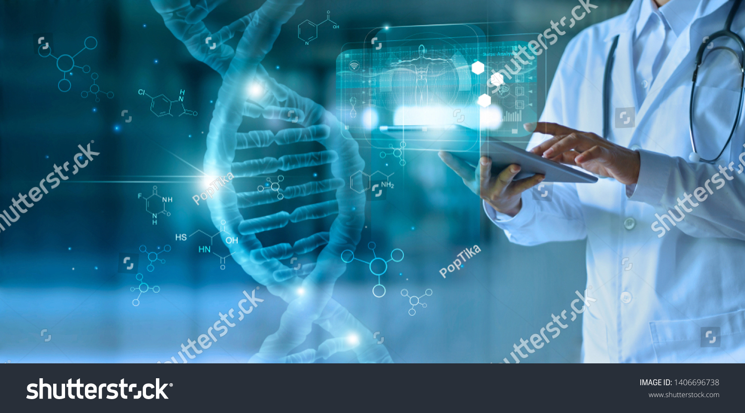 Medicine doctor touching electronic medical record on tablet. DNA. Digital healthcare and network connection on hologram modern virtual screen interface, medical technology and network concept. #1406696738