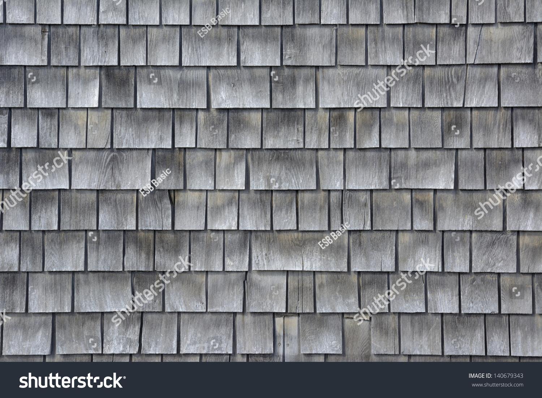 Siding Gray Wood Shingles Low Environmental Stock Photo