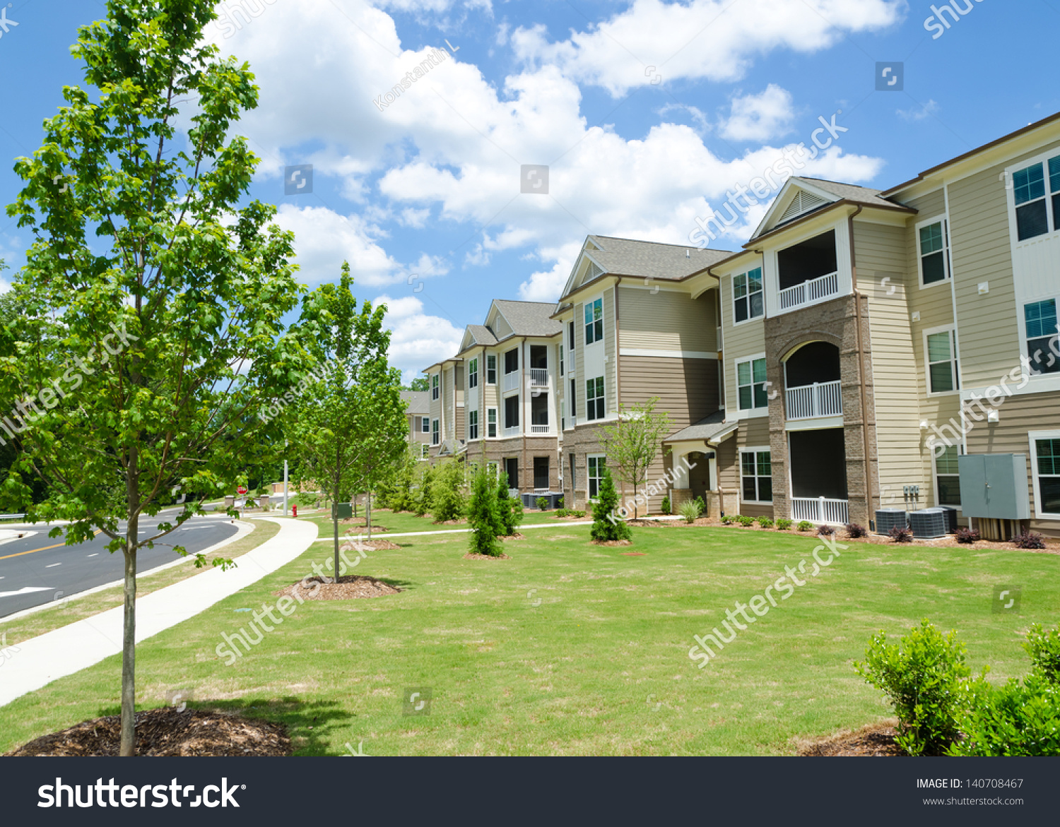 Typical Apartment Complex Building In Suburban Area Stock ...