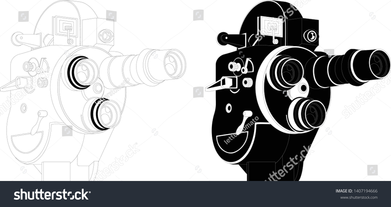 8Mm Vintage Camera 8mm vintage movie camera outlines inverted stock vector