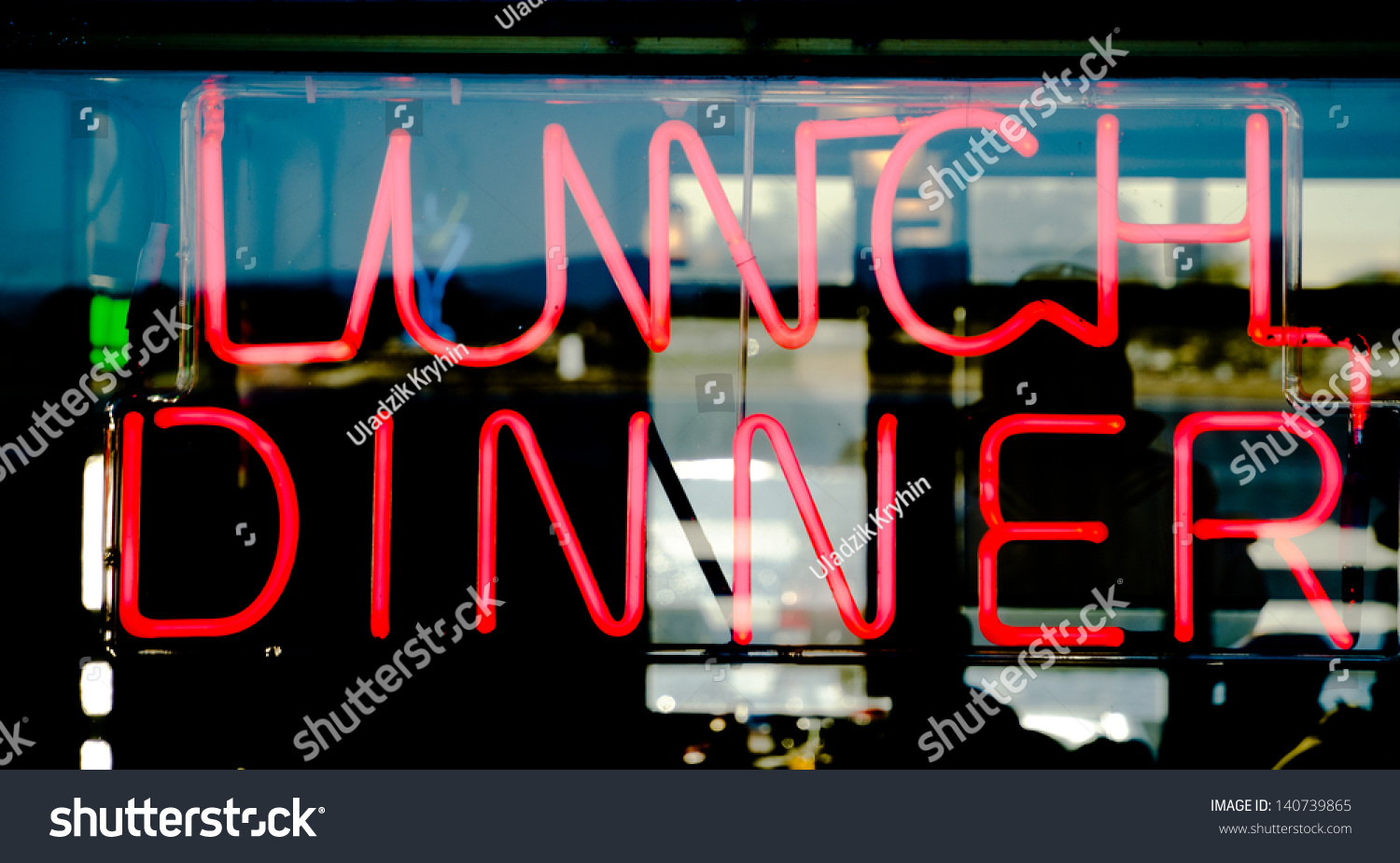 Traditional American Style Diner Neon Sign Stock Photo (Edit