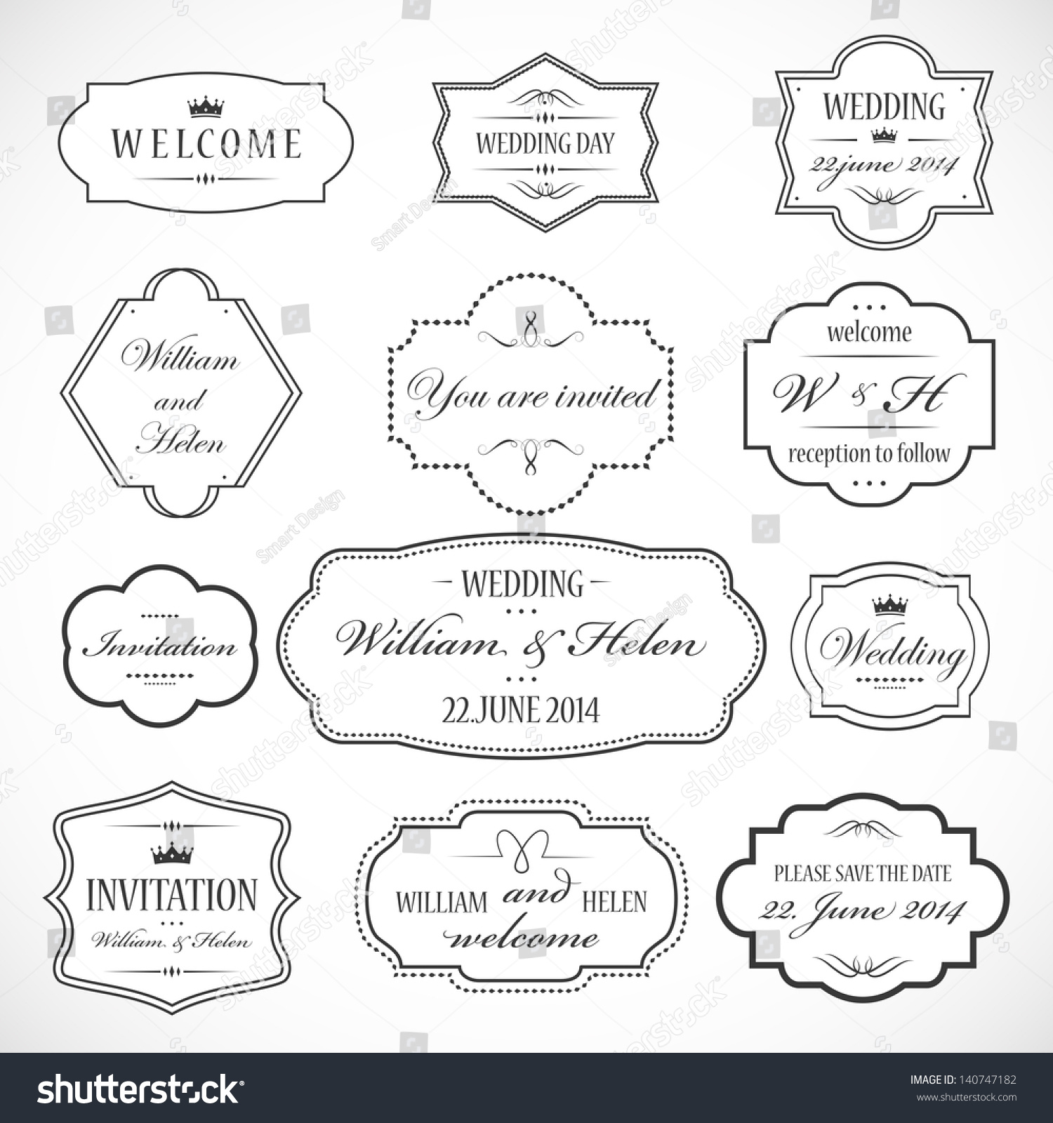 Wedding ornaments 2014 - Frames And Ornaments Set Isolated On Gray Background Vector Illustration Graphic Design Editable