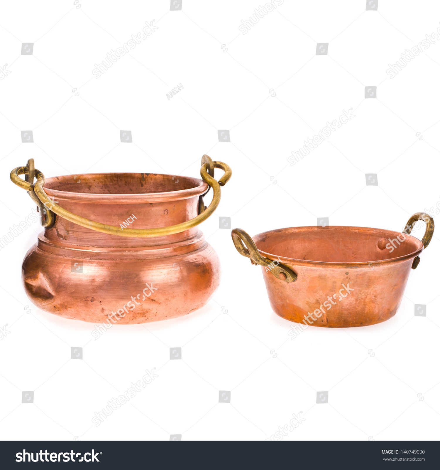 Two Antique Copper Kitchen Utensils Isolated On White Background Stock