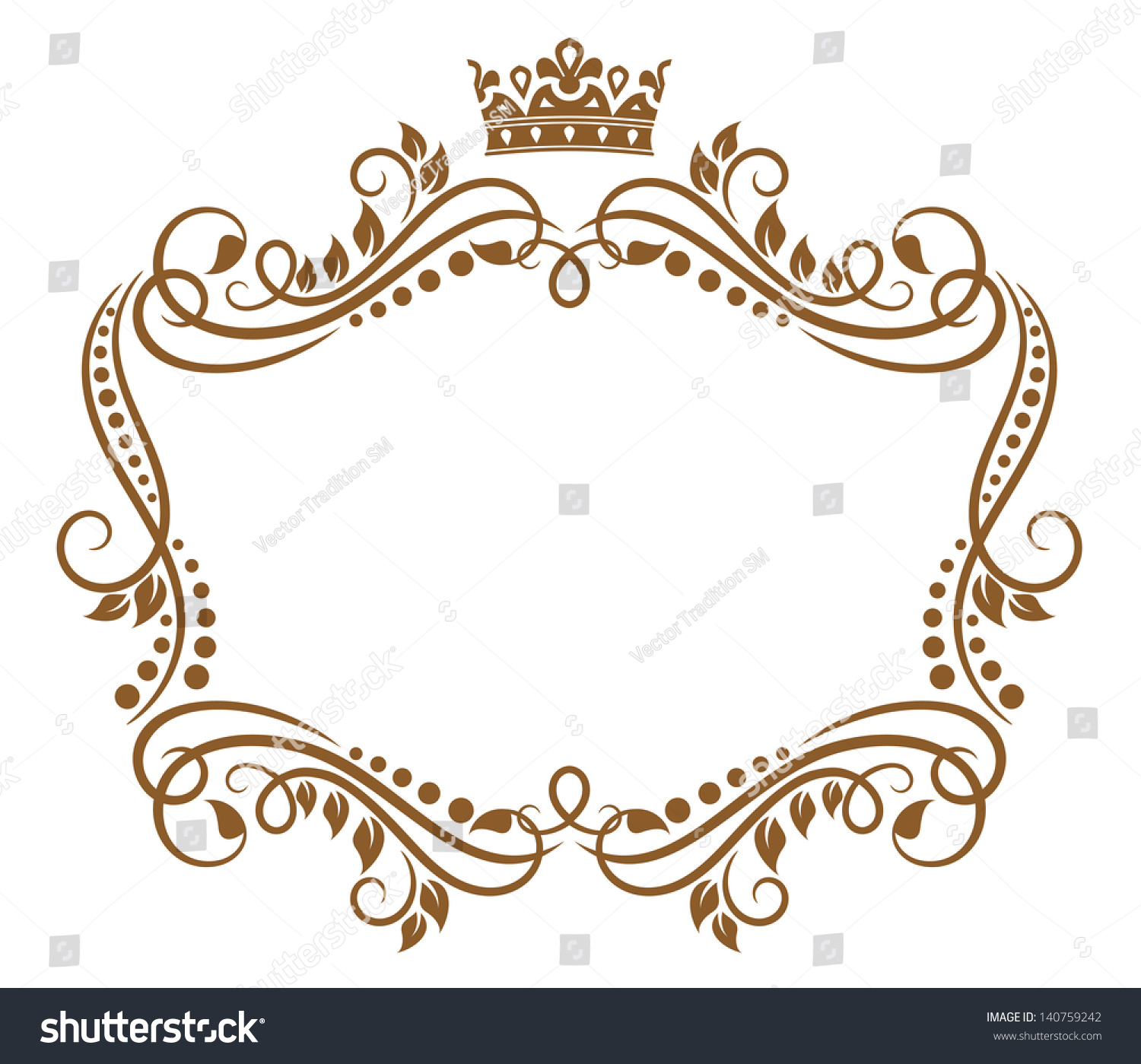 retro frame with royal crown and flowers for wedding or heraldry design jpeg bitmap