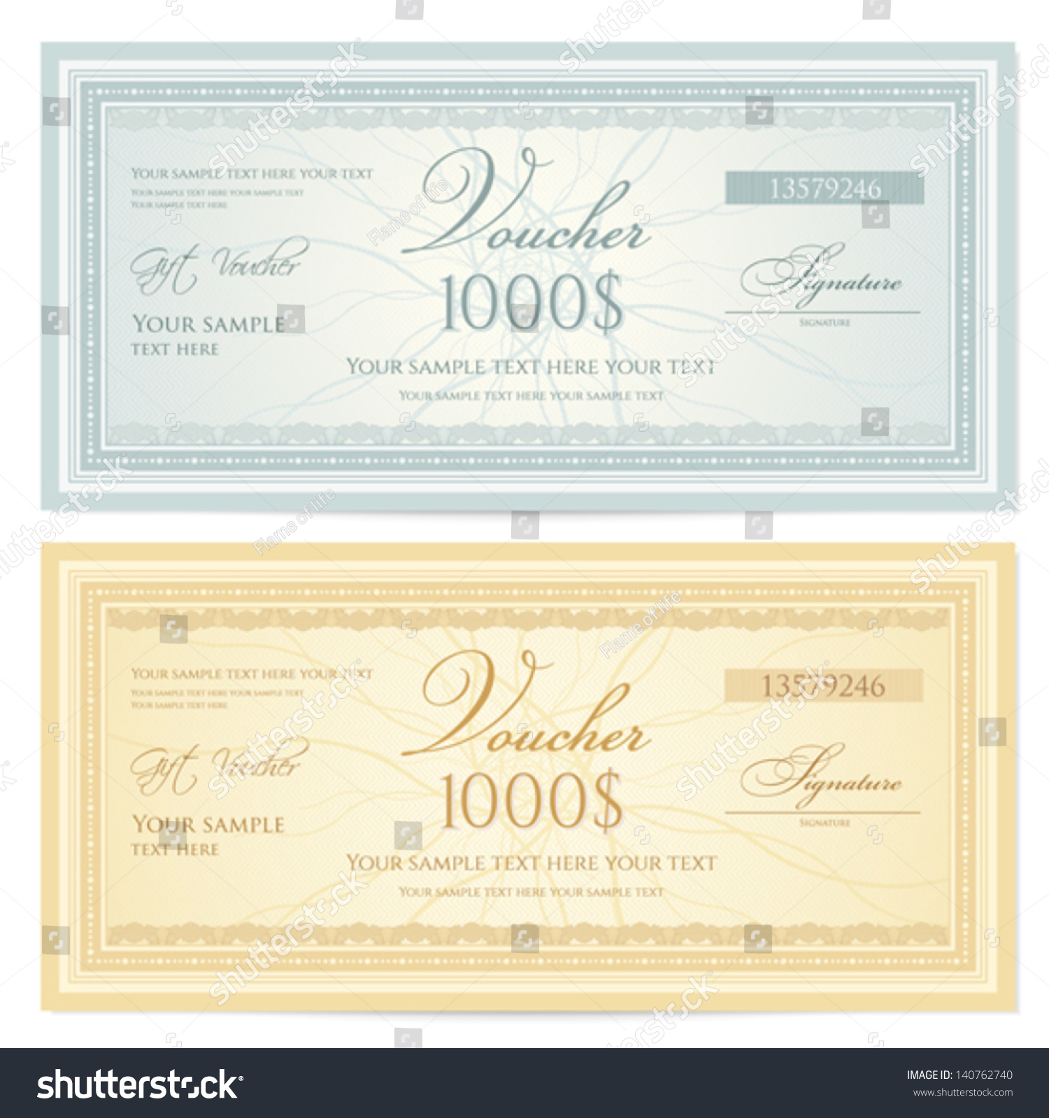 Gift Certificate / Voucher Template With Guilloche Pattern (watermarks) And  Border. Background For Coupon, Banknote, Money Design, Currency, Note,  Check, ...  Money Voucher Template
