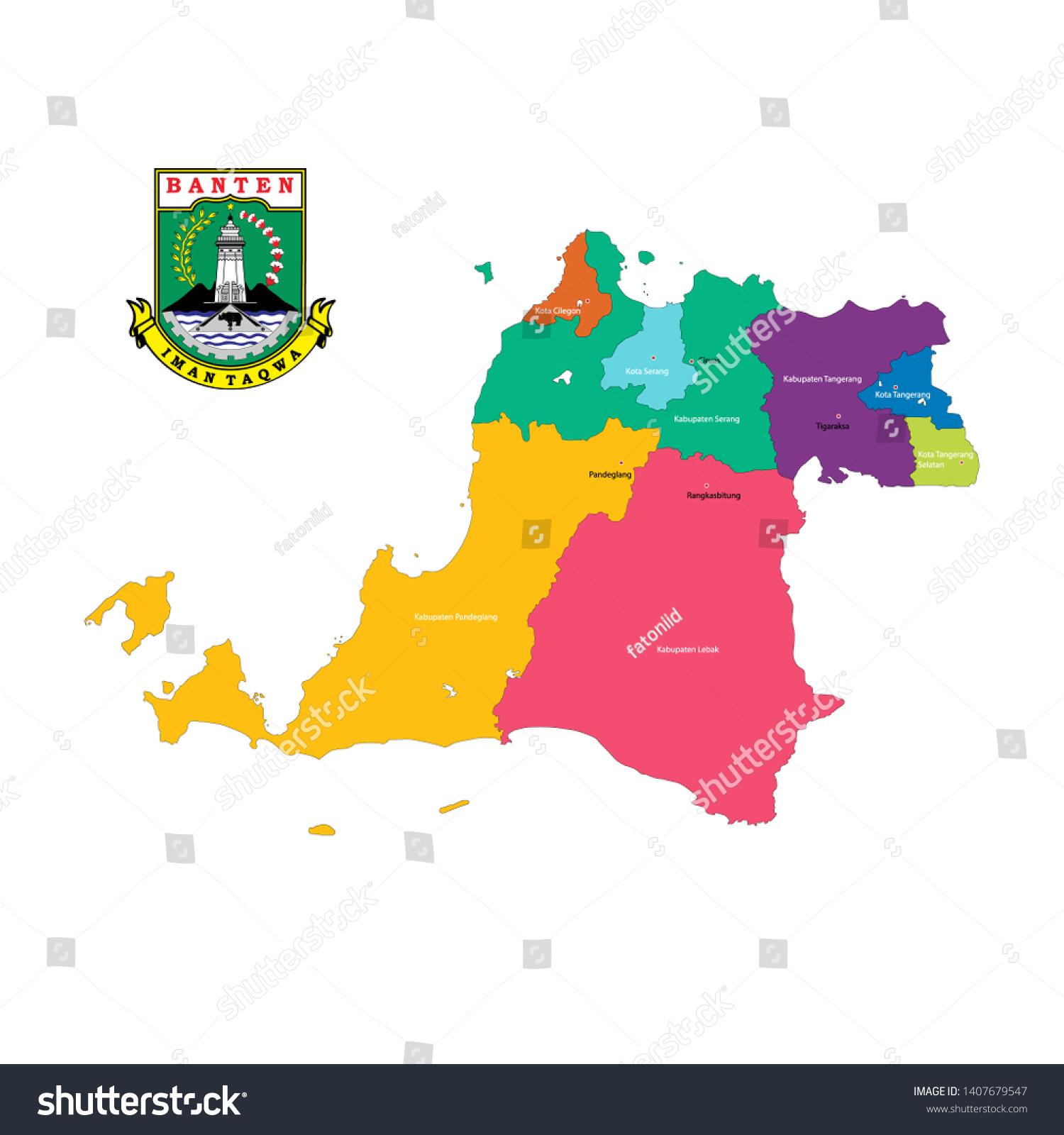 Colored Vector Maps Logos Province Banten Stock Vector Royalty Free 1407679547