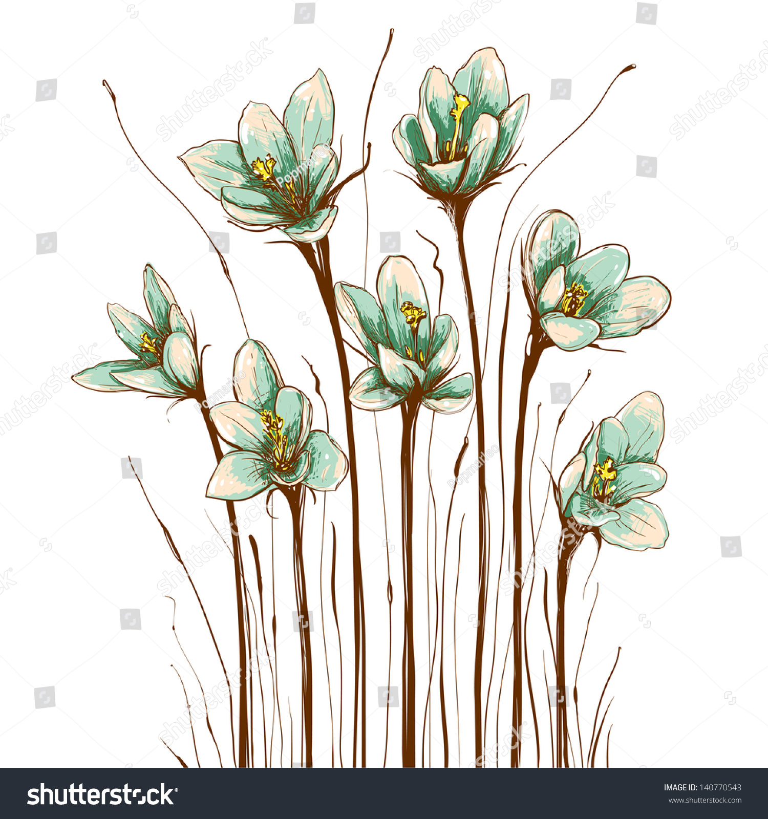 vintage flowers composition decorative flowers background vector illustration eps8 - Decorative Flowers