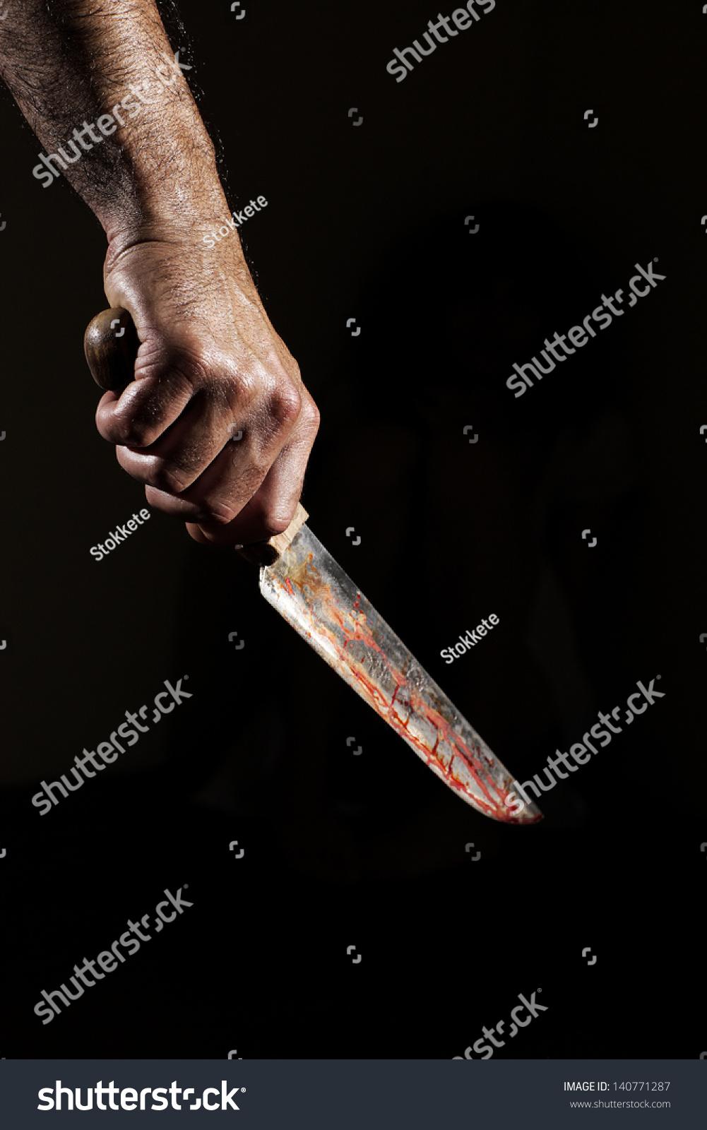 Man Bloody Knife Hand ...