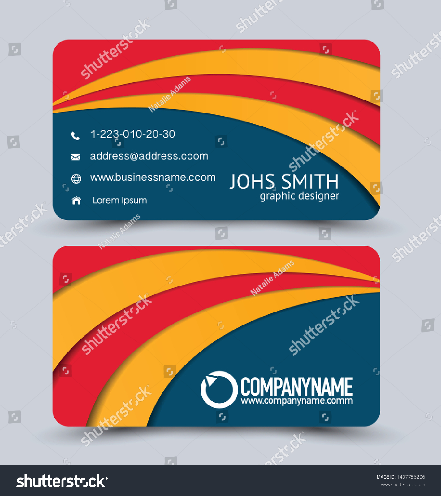 Modern Business Card Template Blue Red Stock Vector Royalty Free ...
