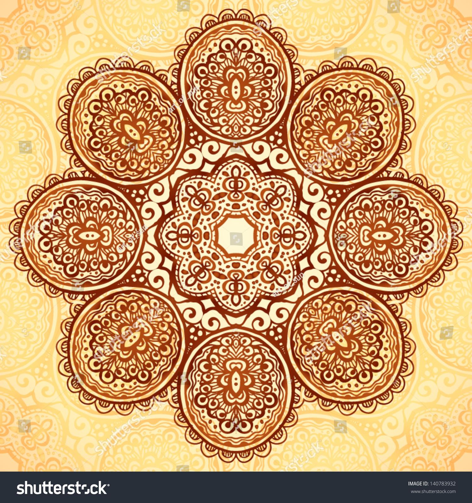Ornate vintage vector background in mehndi style royalty free stock - Ornate Vintage Vector Flower Napkin Background In Mehndi Indian Style
