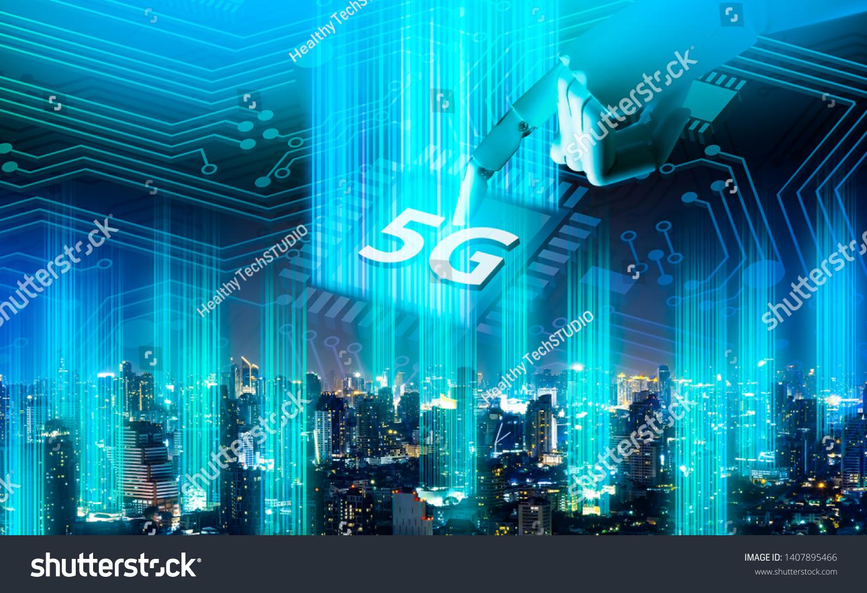5g Network Digital Hologram Internet Things Stock Photo (Edit Now