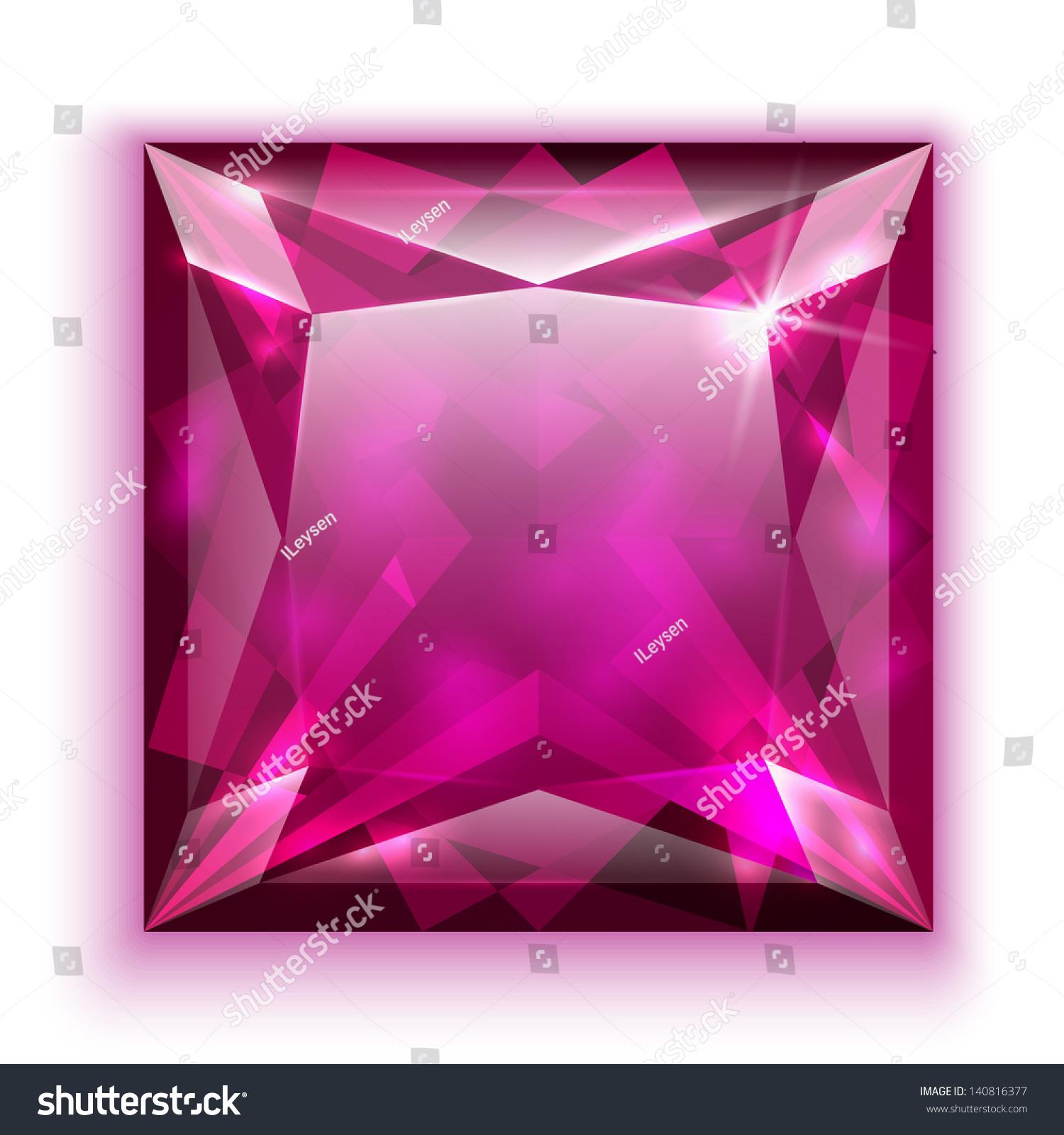 Princess Cut Pink Diamond Icon Eps 10 Stock Vector (Royalty Free ...