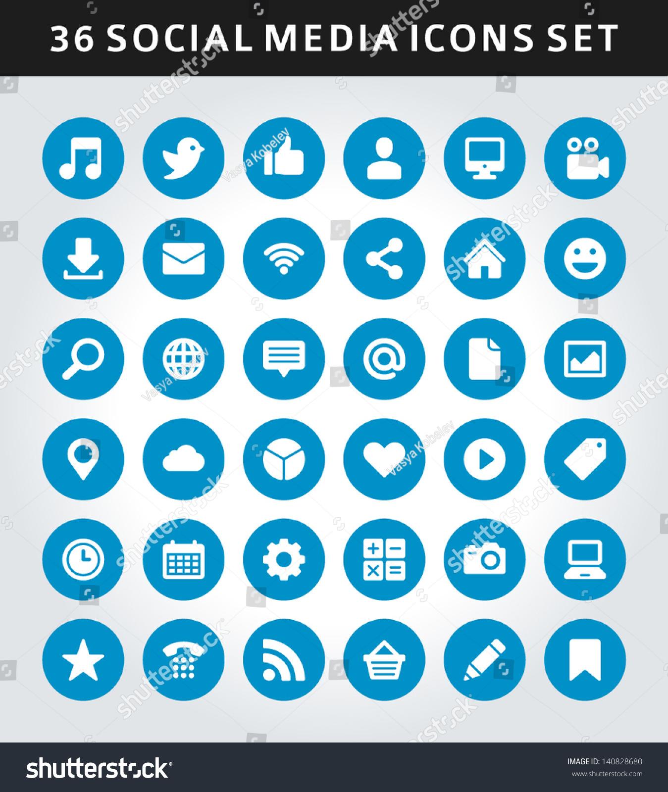 Social Media Icons Vector Stock Vector 140828680 - Shutterstock