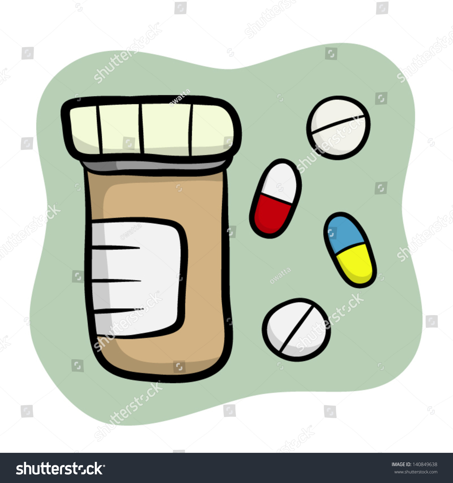 Drug Bottle With Tablet And Capsule / Cartoon Vector And