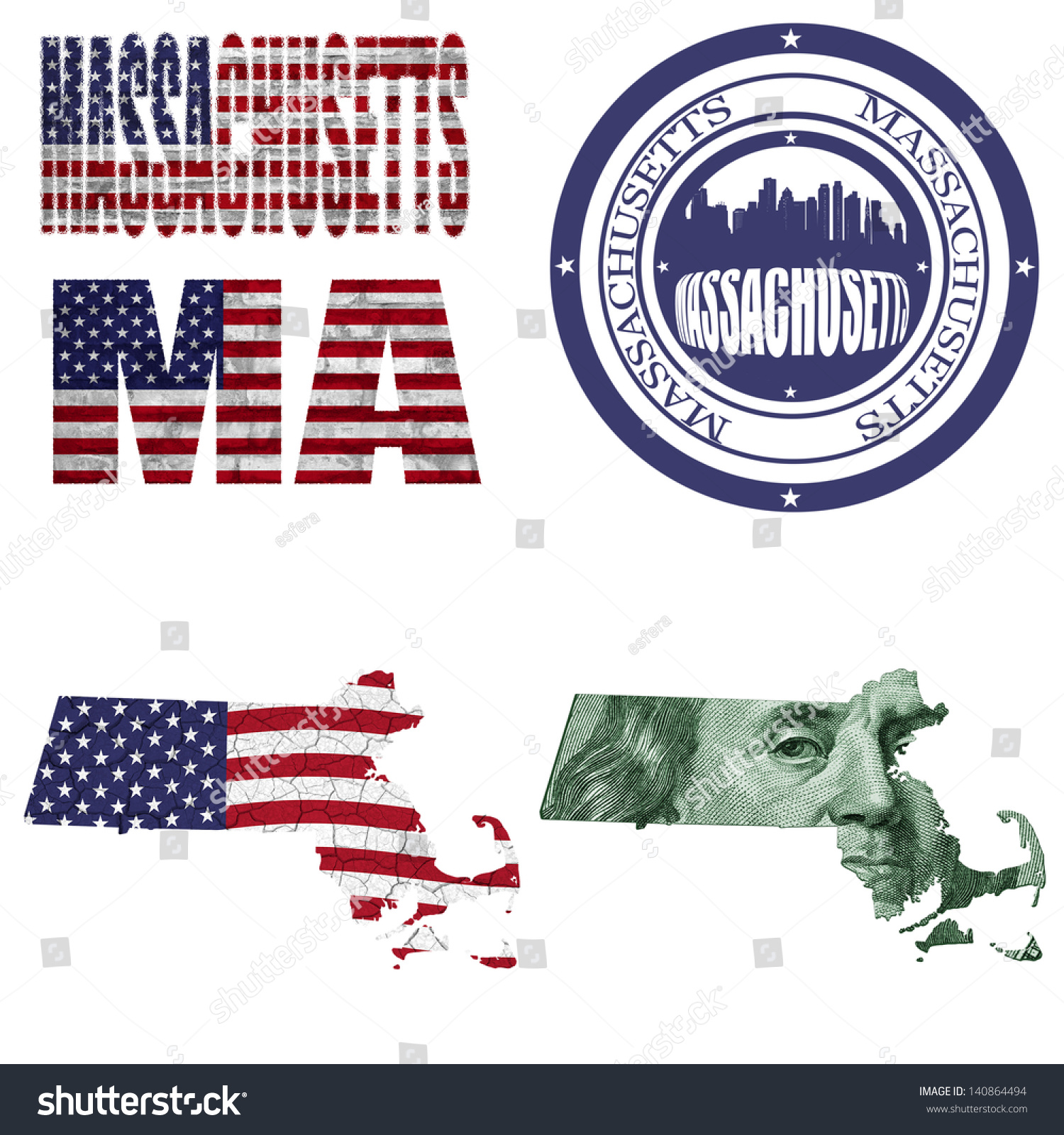 Massachusetts State Collage Map Stampwordabbreviation In Different Styles