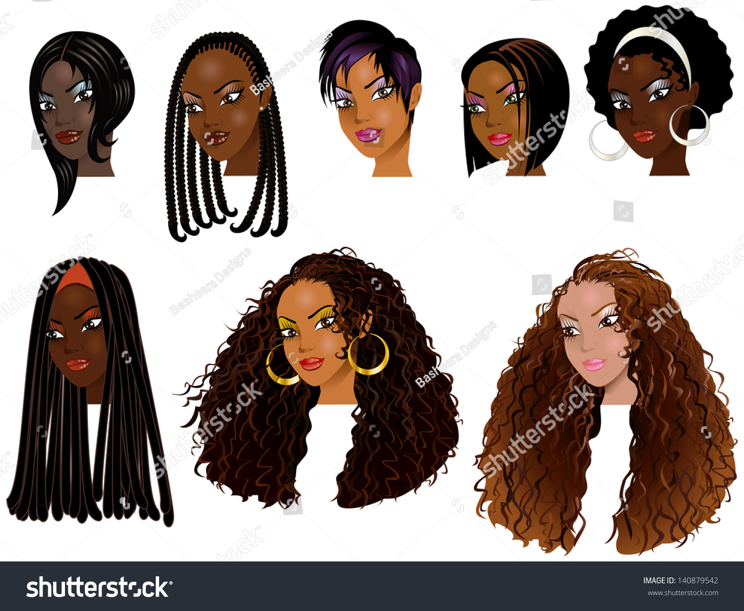 Vector Illustration Black Women Faces Great Stock Vector