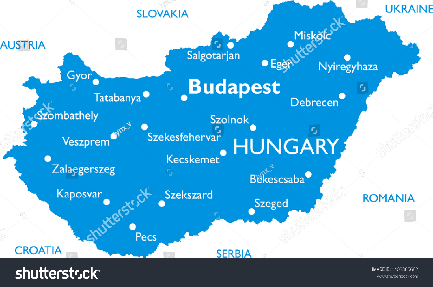 Picture of: Vector Map Hungary Outline Detailed Map Stock Vector Royalty Free 1408885682