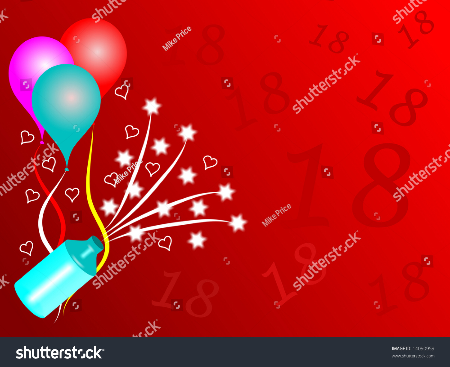 18th birthday background room text baloons stock illustration