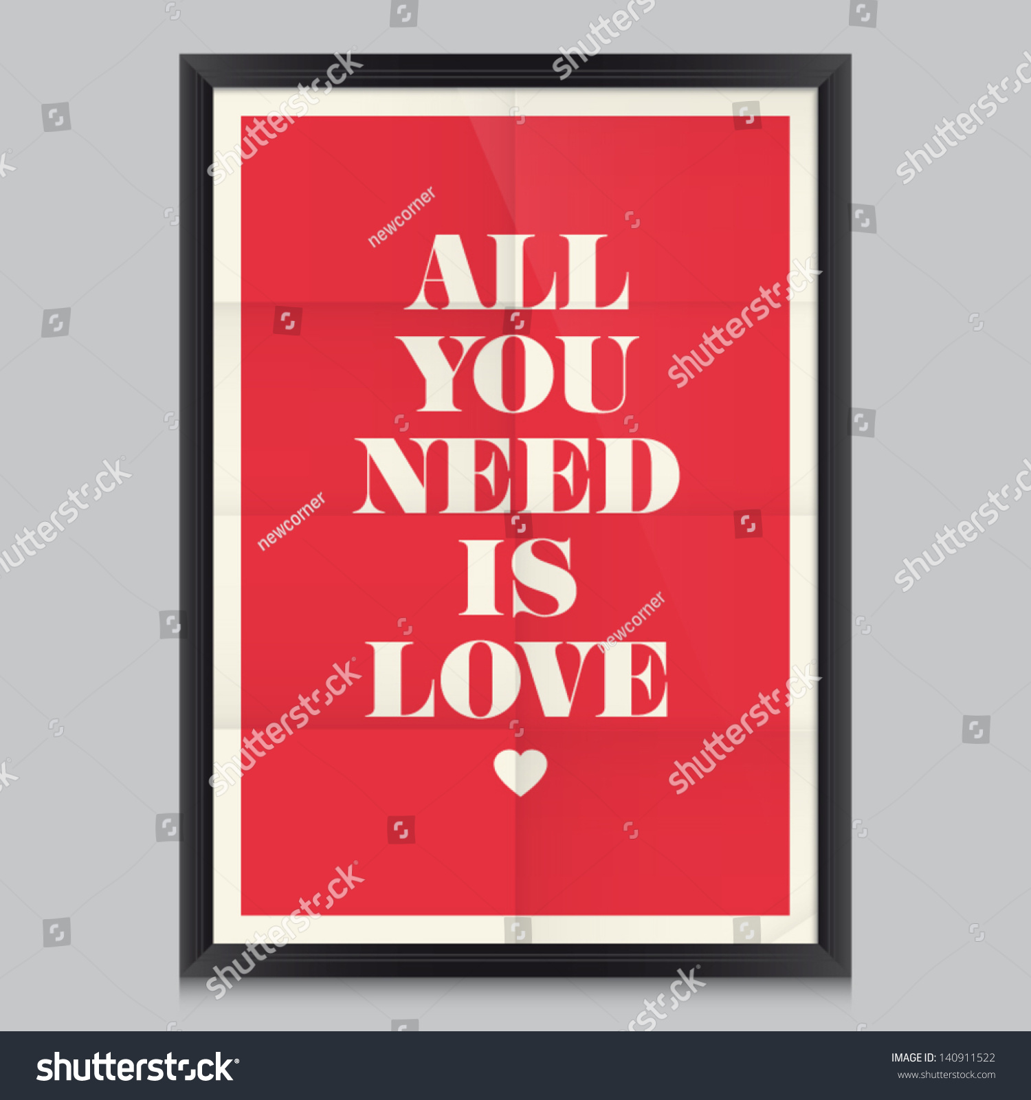 Love quote poster. Effects poster, frame, colors background and colors ...