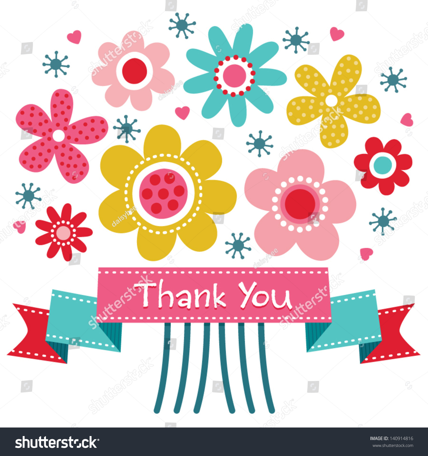 Vector thank you card retro style stock vector 140914816 shutterstock vector thank you card with retro style flower posy and vintage ribbon banner also great izmirmasajfo