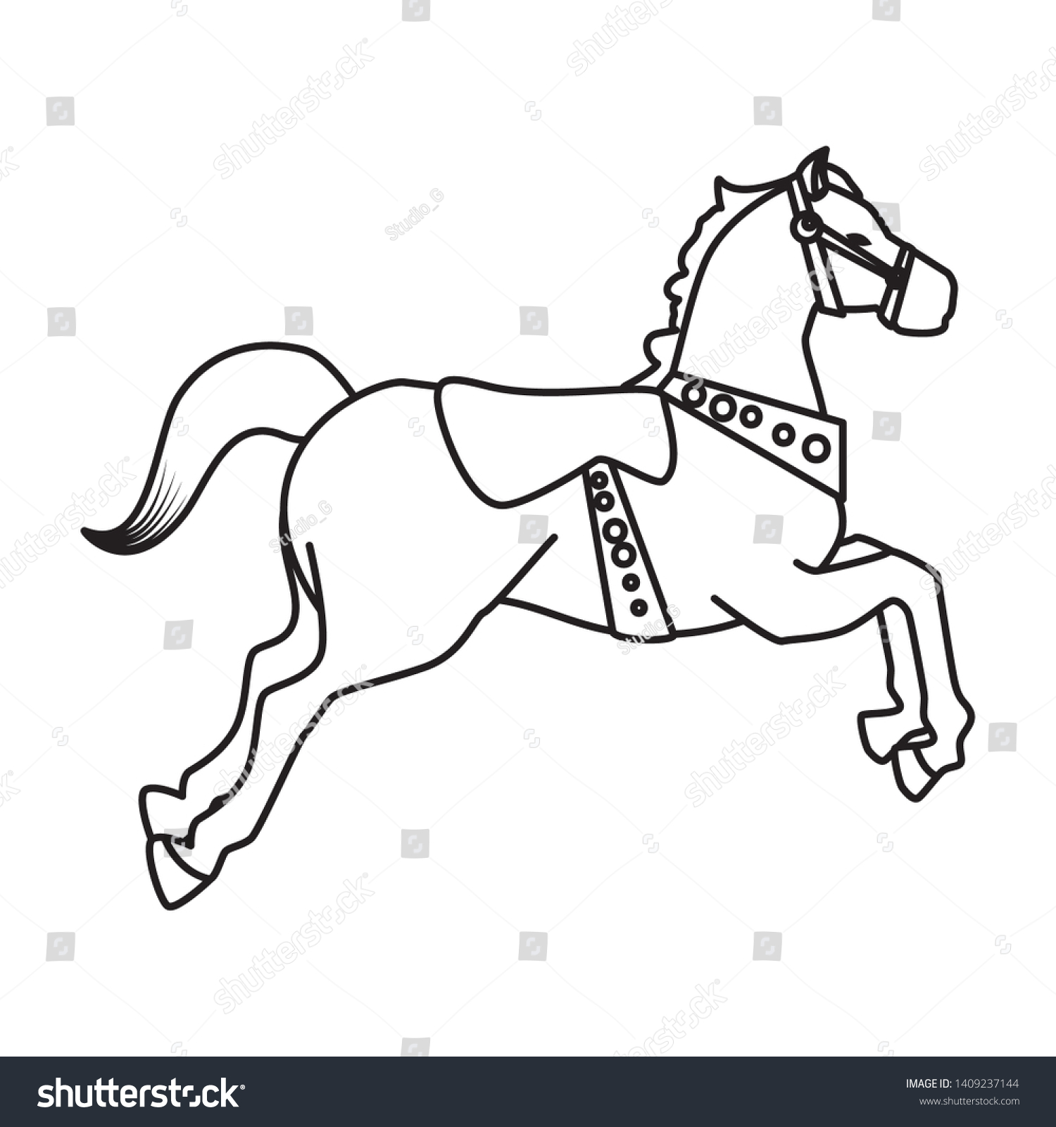 Carousel Horse Carnival Icon Vector Illustration Stock Vector Royalty Free 1409237144