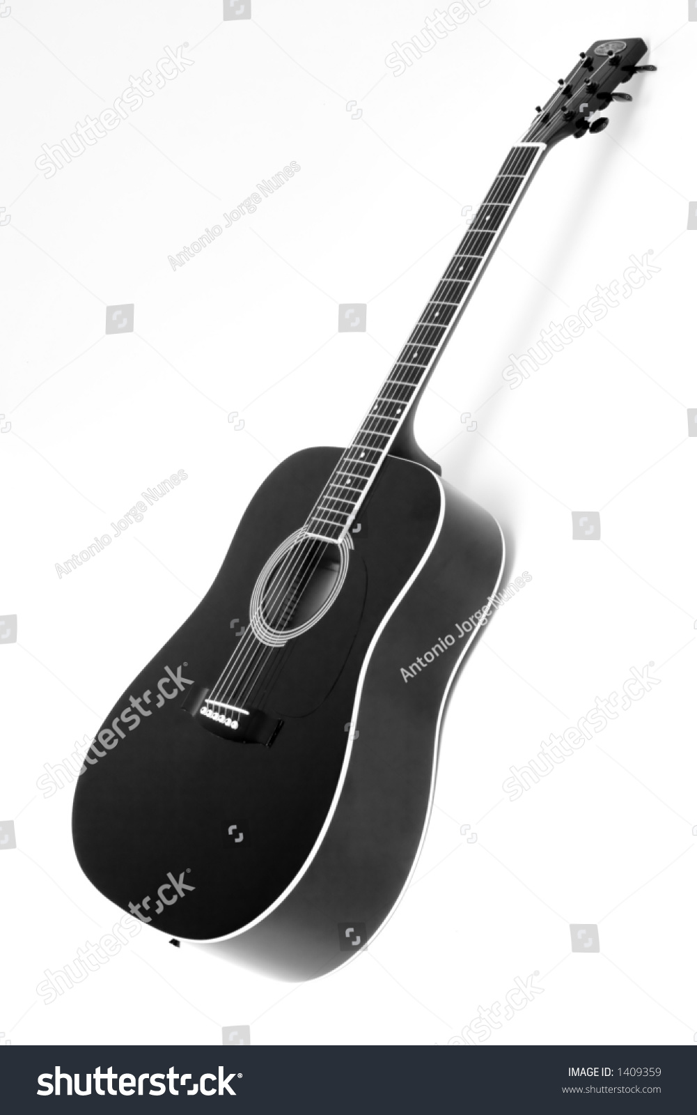 black and white acoustic guitar on white background stock photo 1409359 shutterstock. Black Bedroom Furniture Sets. Home Design Ideas